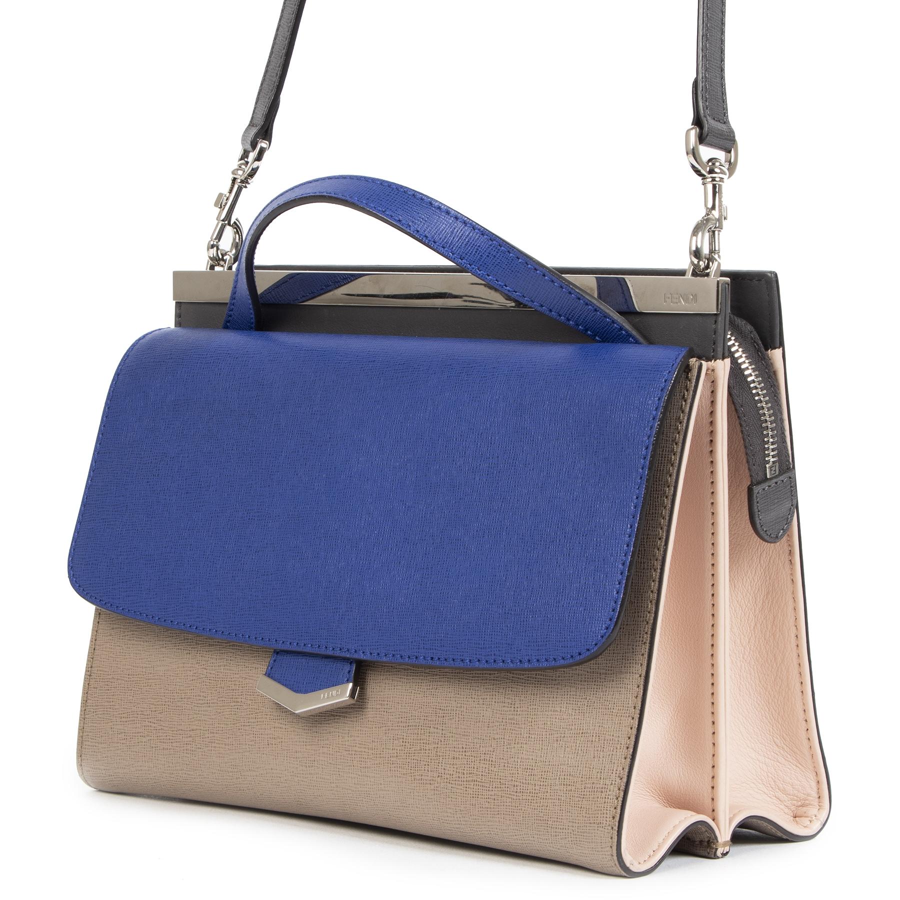 Authentieke Tweedehands Fendi Blue Demi Jour Leather Shoulder Bag juiste prijs veilig online shoppen luxe merken webshop winkelen Antwerpen België mode fashion