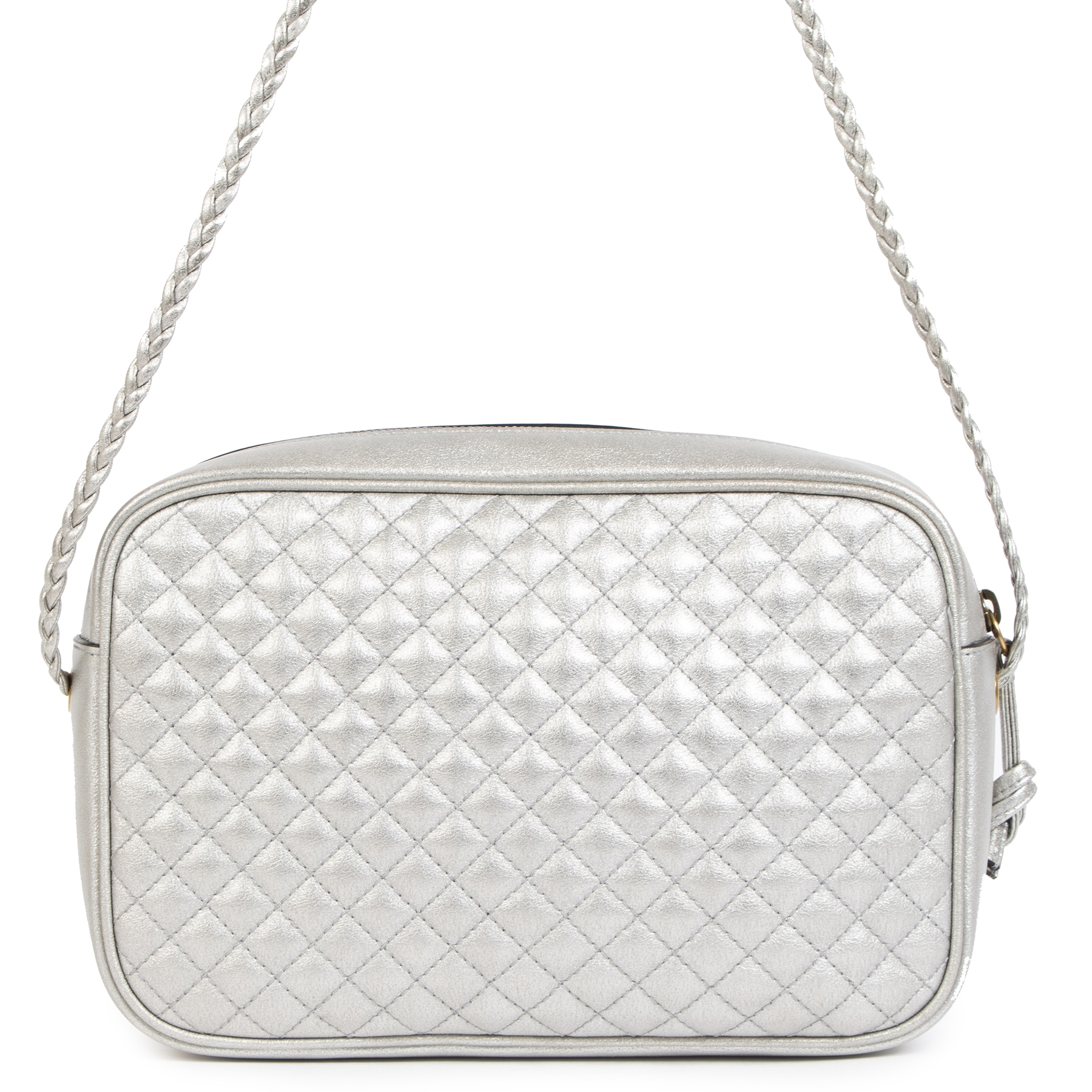 We buy and sell 100% authentic Gucci Silver Quilted Web Bag