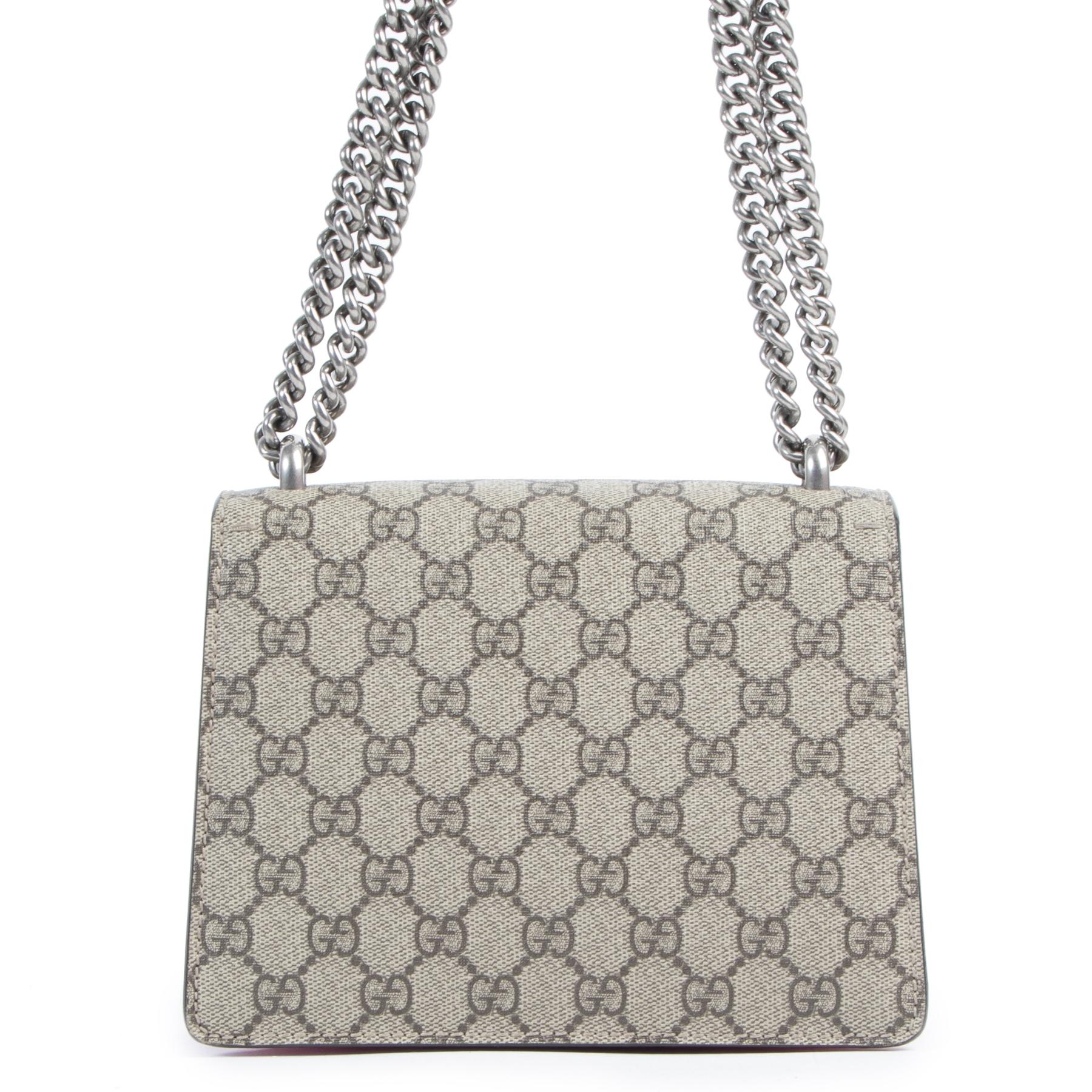 Authentieke Tweedehands Gucci Pink Dionysus GG Supreme Mini Shoulder Bag juiste prijs veilig online shoppen luxe merken webshop winkelen Antwerpen België mode fashion