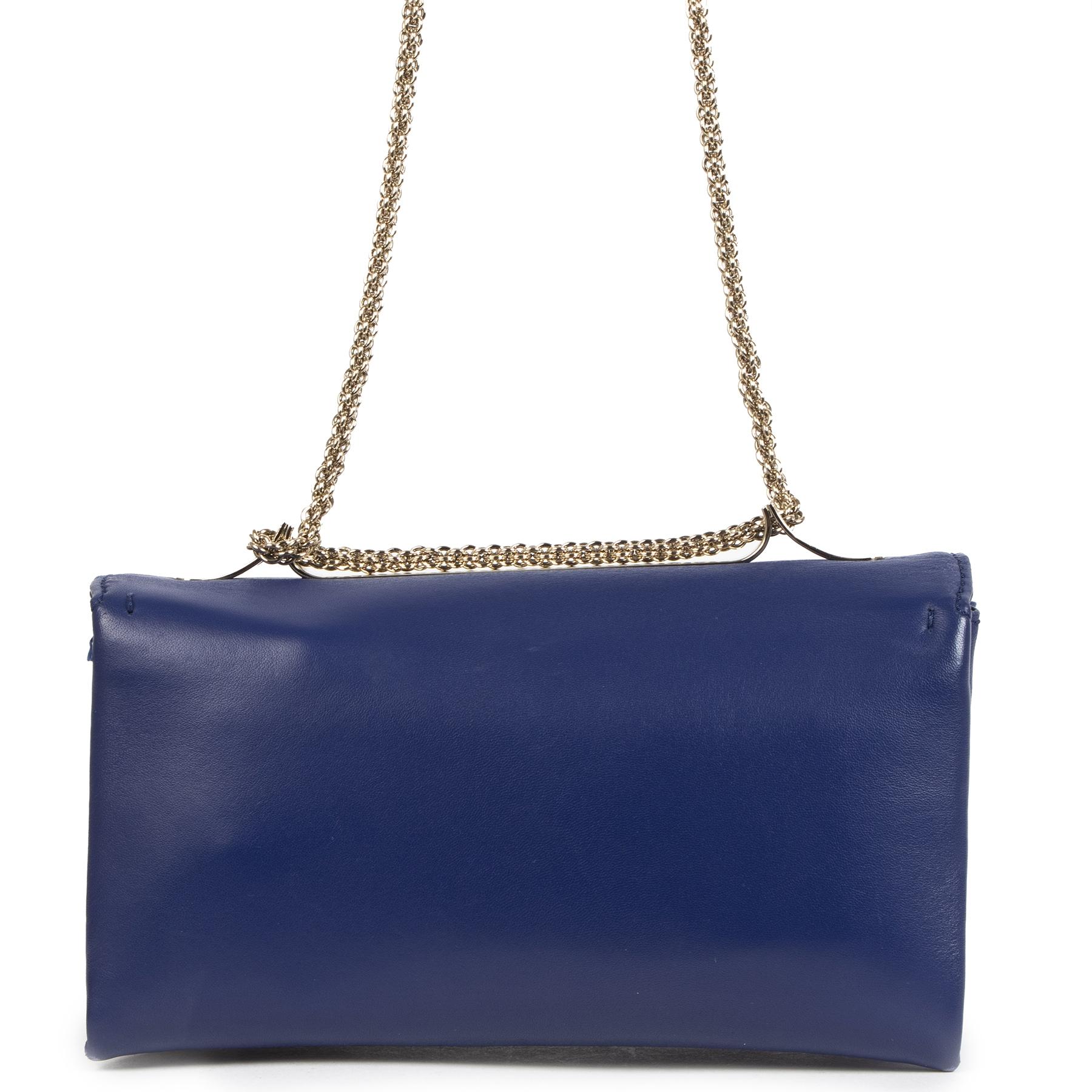 Authentieke Tweedehands Valentino Cobalt Blue Leather Studded Bag juiste prijs veilig online shoppen luxe merken webshop winkelen Antwerpen België mode fashion