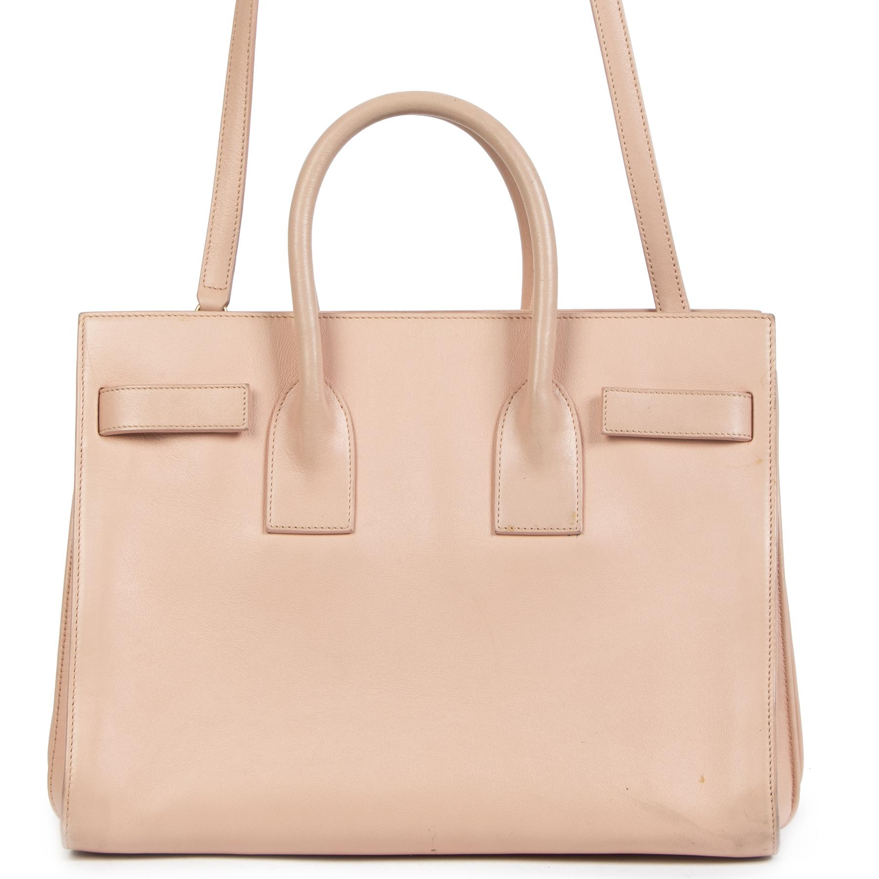 Authentieke Tweedehands Yves Saint Laurent Pale Blush Small Sac Du Jour Leather Bag juiste prijs veilig online shoppen luxe merken webshop winkelen Antwerpen België mode fashion