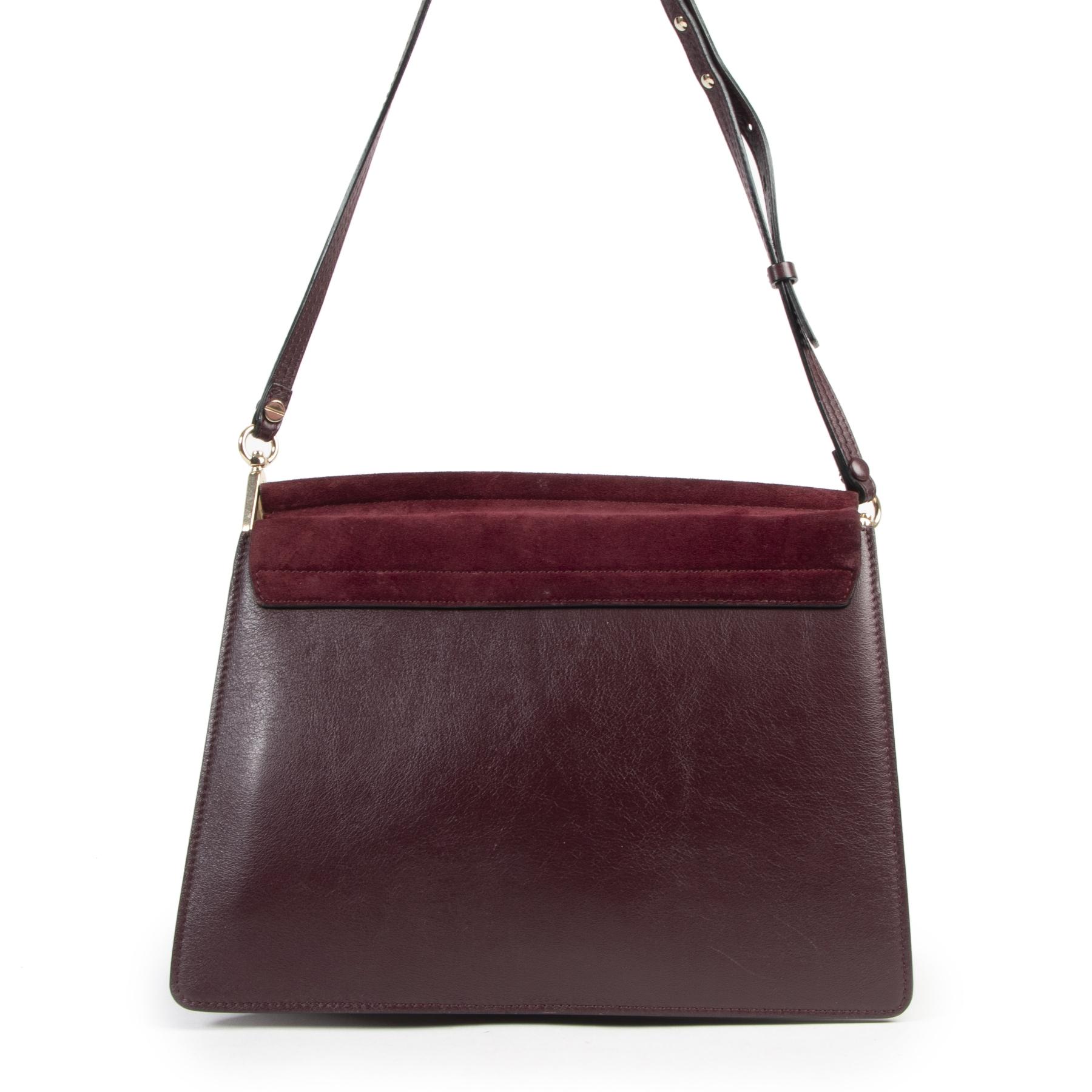 Authentieke Tweedehands Chloé Medium Purple Faye Shoulder Bag juiste prijs veilig online shoppen luxe merken webshop winkelen Antwerpen België mode fashion
