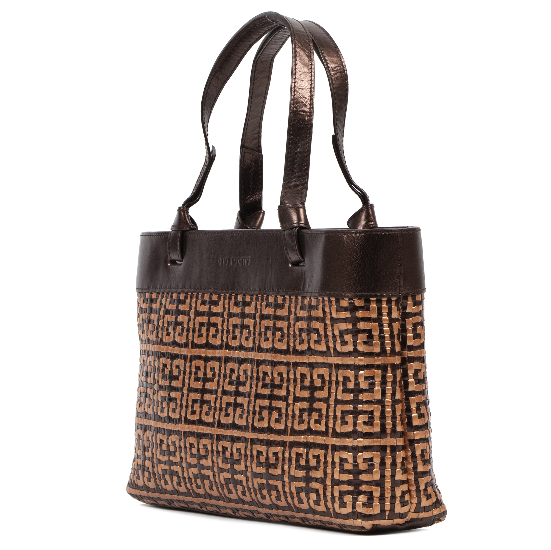 Authentieke tweedehands vintage Givenchy Brown and Gold Woven Top Handle Bag koop online webshop LabelLOV