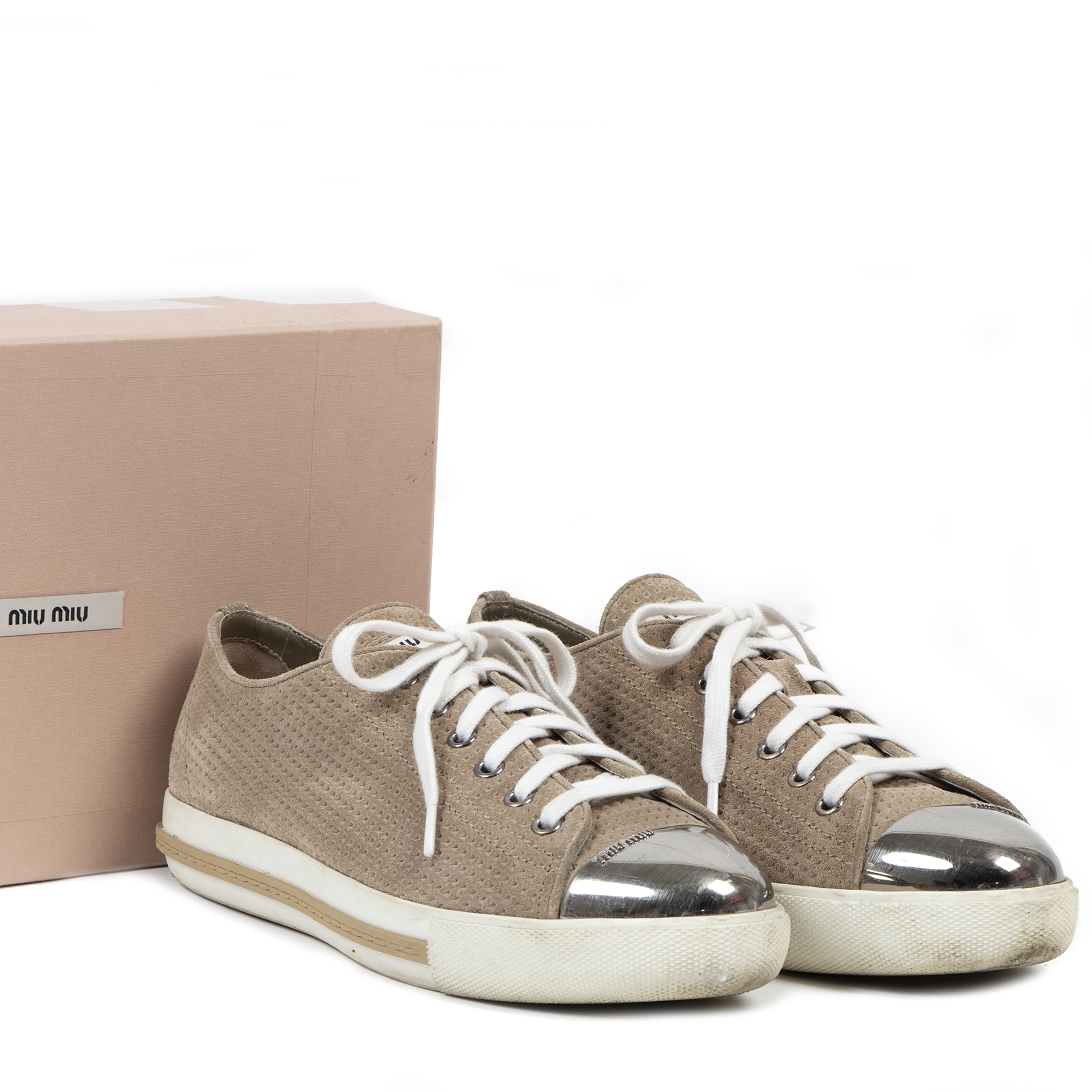 Authentique seconde-main vintage Miu Miu Brown Calzatore Donna Deserto Sneakers - Size 40,5 achète en ligne webshop LabelLOV
