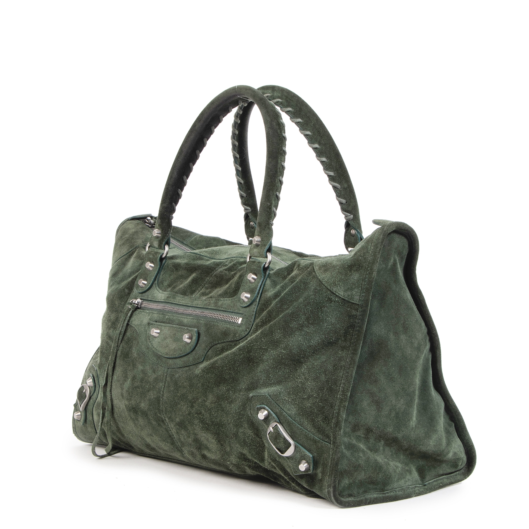 Balenciaga Dark Green Suede Work Bag shop safe online