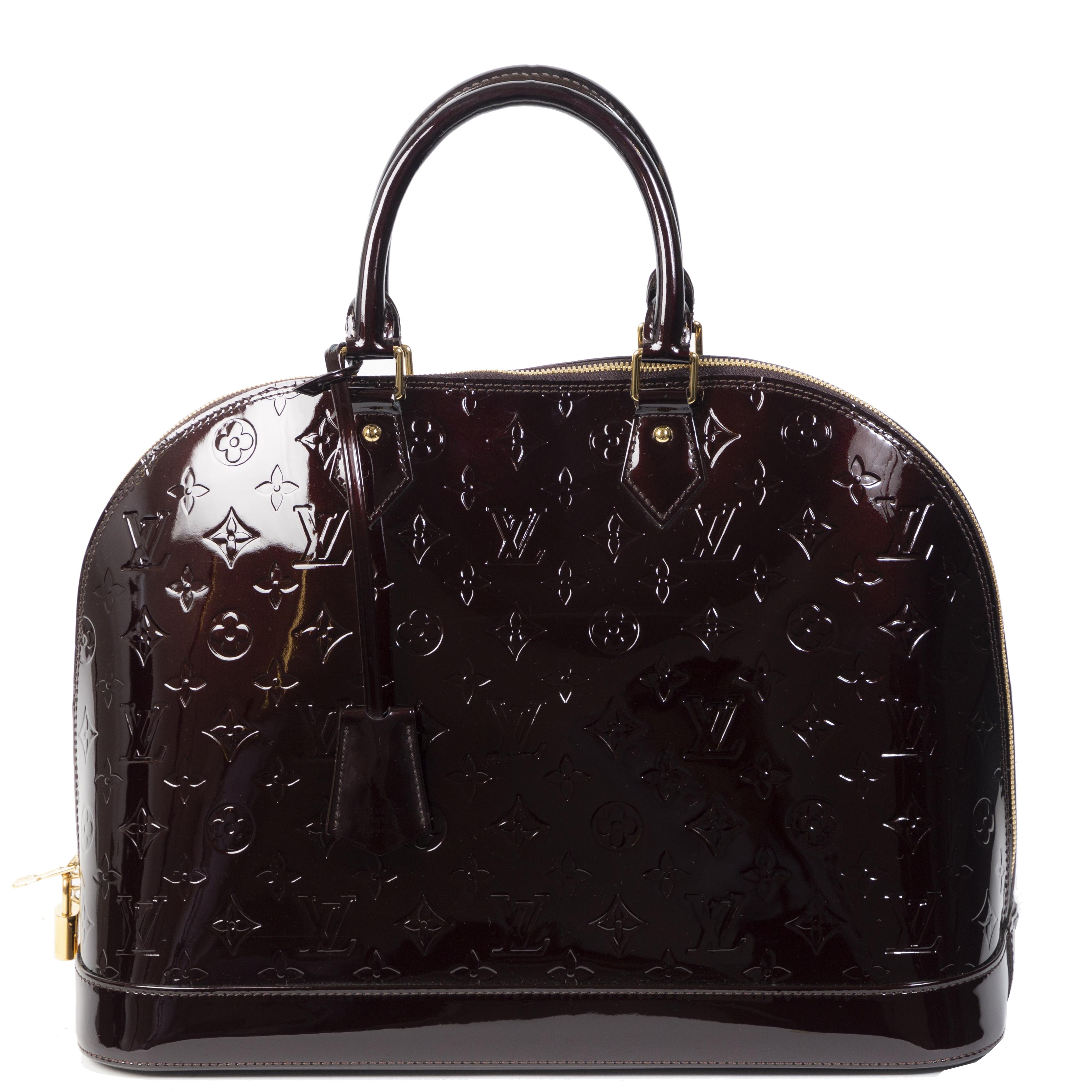 Authentieke Tweedehands Louis Vuitton Amarante Alma Monogram Vernis GM Bag juiste prijs veilig online shoppen luxe merken webshop winkelen Antwerpen België mode fashion