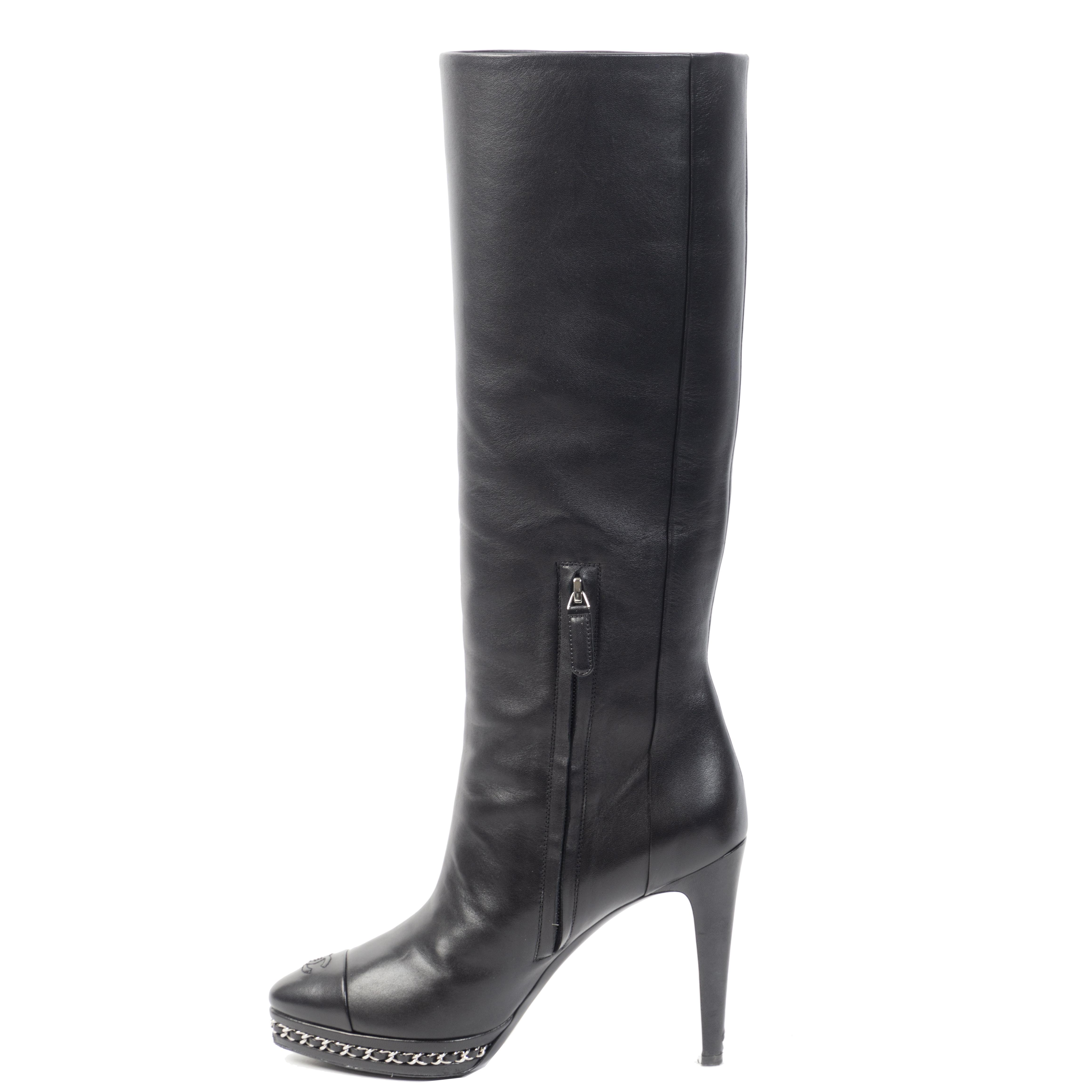 Authentieke Tweedehands Chanel Chain Platform Black Leather Boots juiste prijs veilig online shoppen luxe merken webshop winkelen Antwerpen België mode fashion