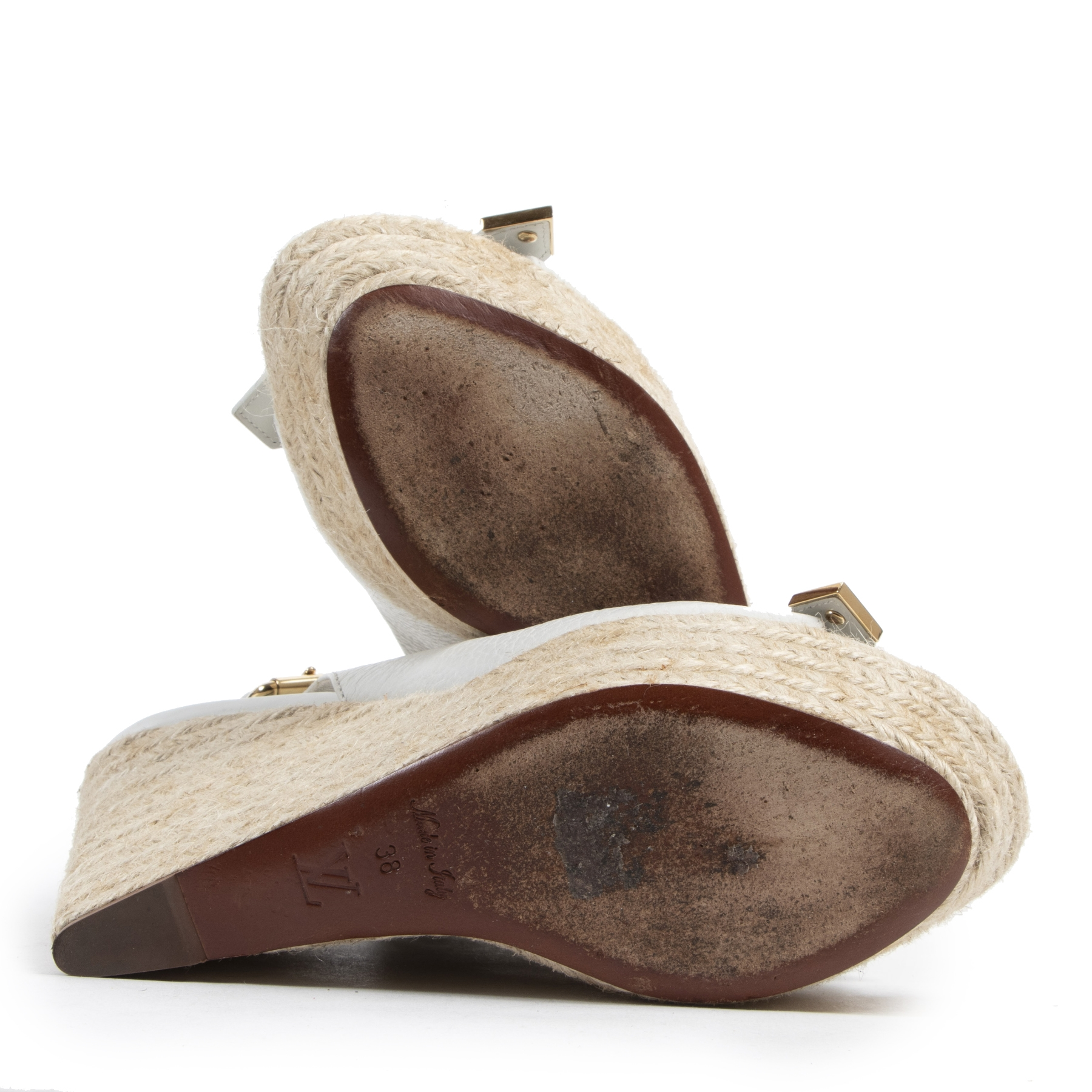 Louis Vuitton Espadrille Wedge Sandals - Size 38