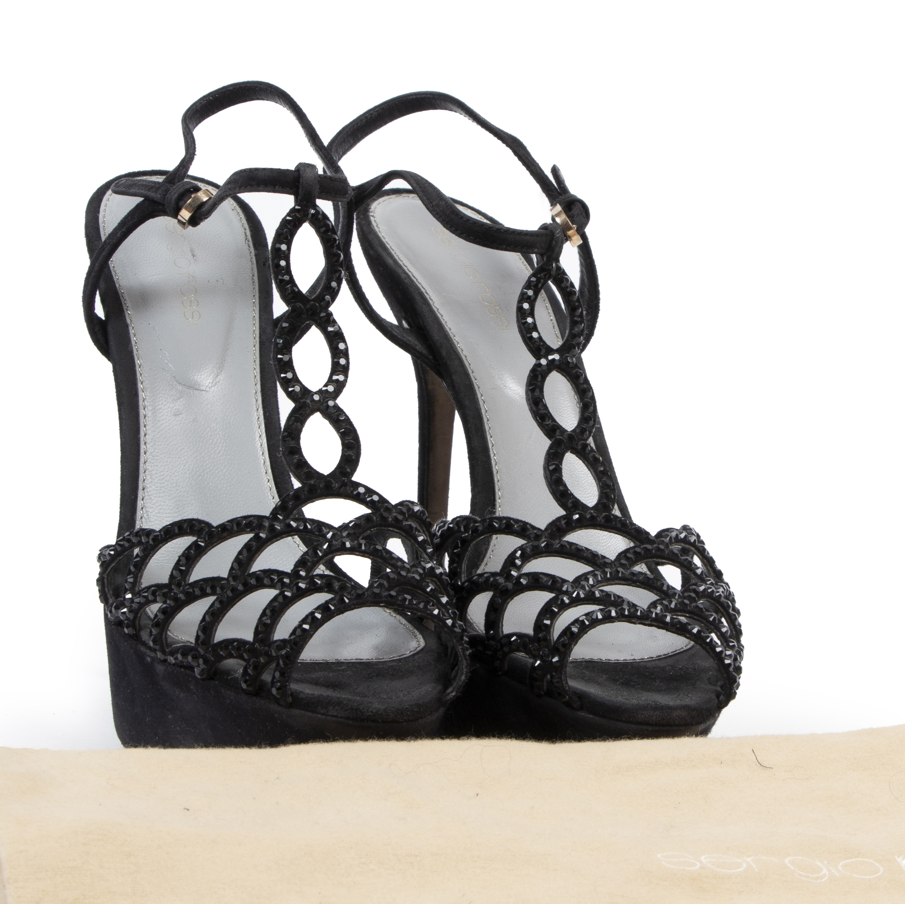 Authentic secondhand Sergio Rossi Black Rhinestone Sandal Heels - Size 39 designer shoes fashion luxury vintage webshop safe secure online shopping