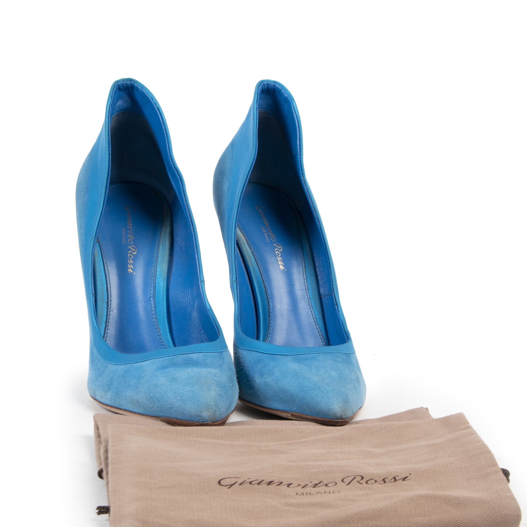Authentic secondhand Gianvito Rossi Blue Suede Pumps - Size 40 designer pumps fashion luxury vintage webshop safe secure online shopping