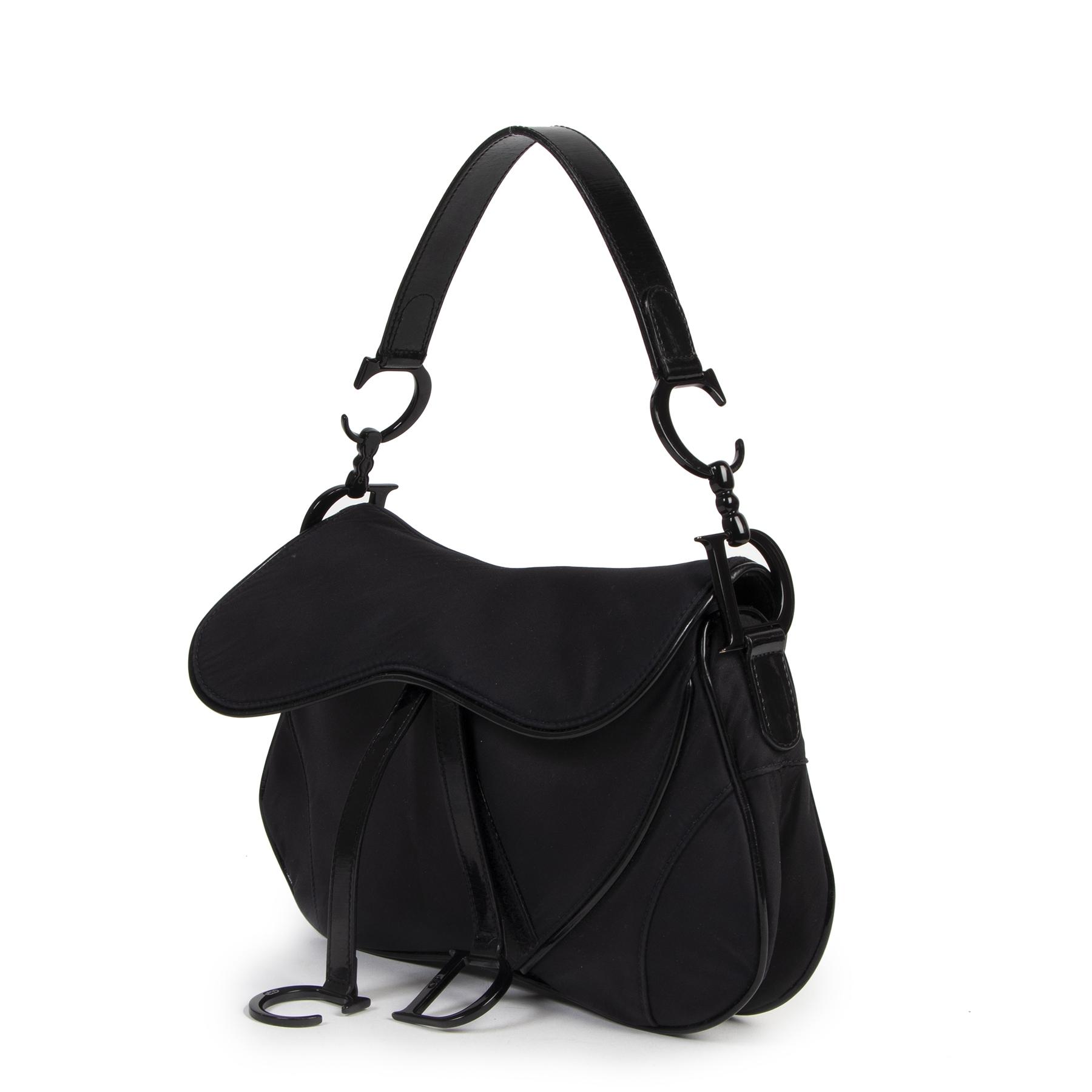 Authentic secondhand Dior Black Nylon Double Saddle Shoulder Bag designer bags luxury vintage webshop fashion safe secure online shopping