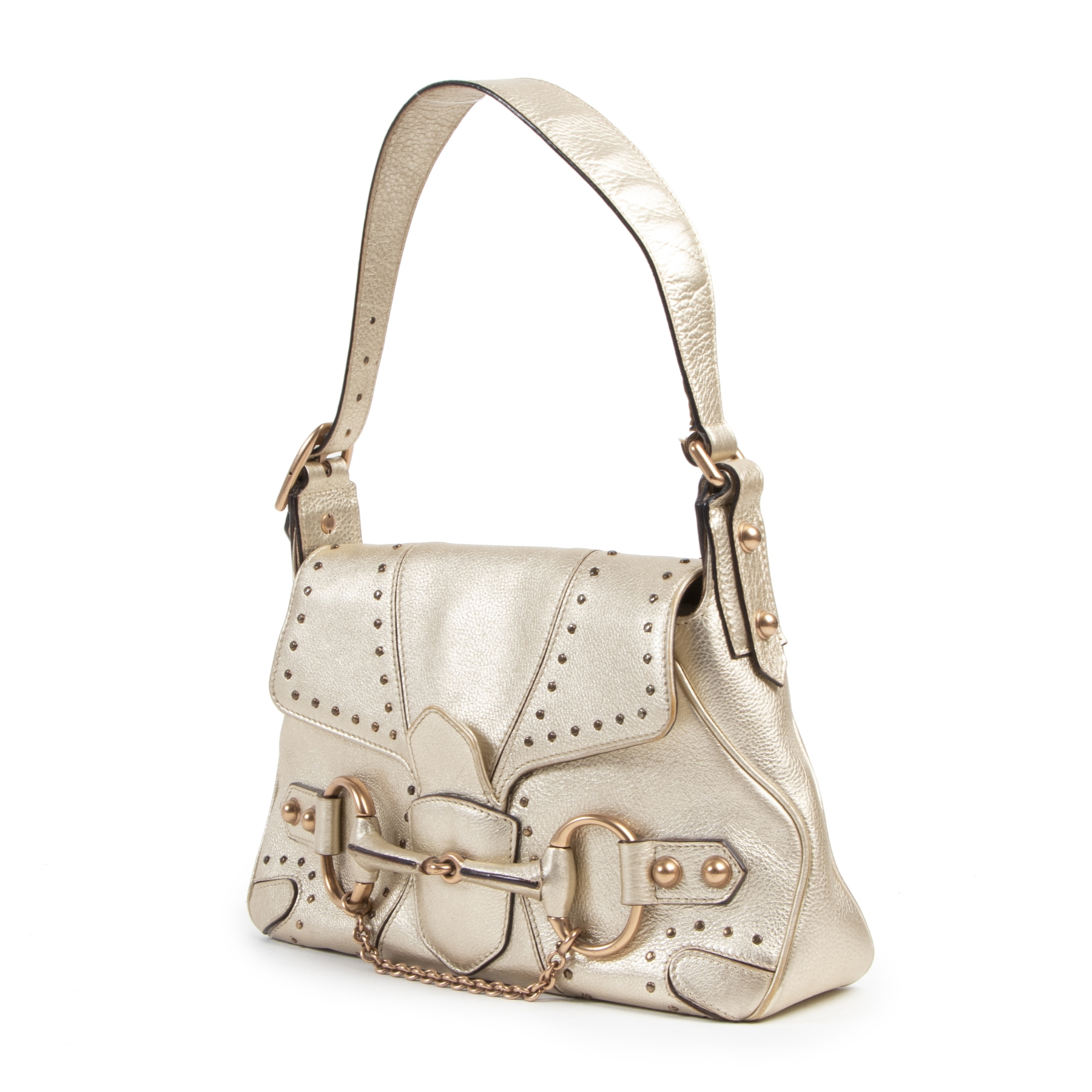 Authentieke tweedehands vintage Gucci Gold Mini Horsebit Bag koop online webshop LabelLOV
