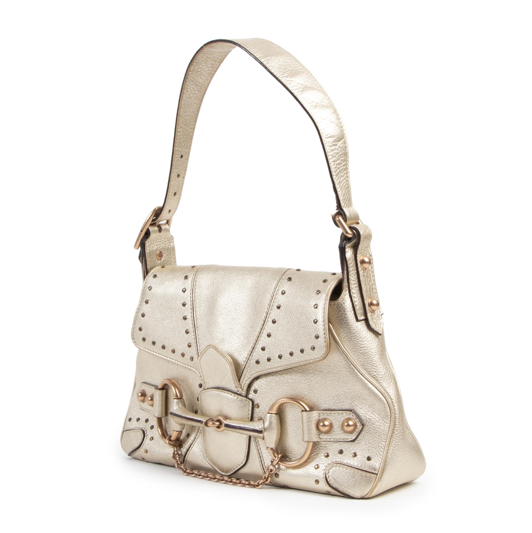 Authentieke tweedehands vintage Gucci Gold Mini Horsebit Bag koop online webshop LabelLOV
