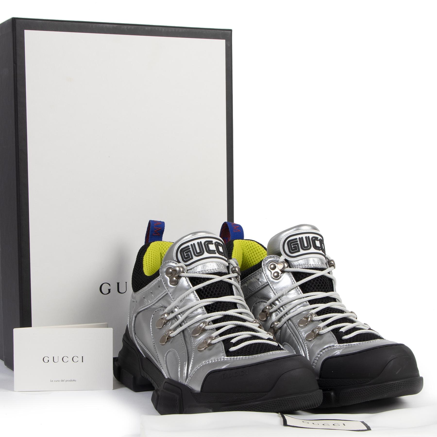 Authentieke Tweedehands Gucci Flashtrek Metallic Leather and Mesh Sneakers - Size 41 juiste prijs veilig online shoppen luxe merken webshop winkelen Antwerpen België mode fashion