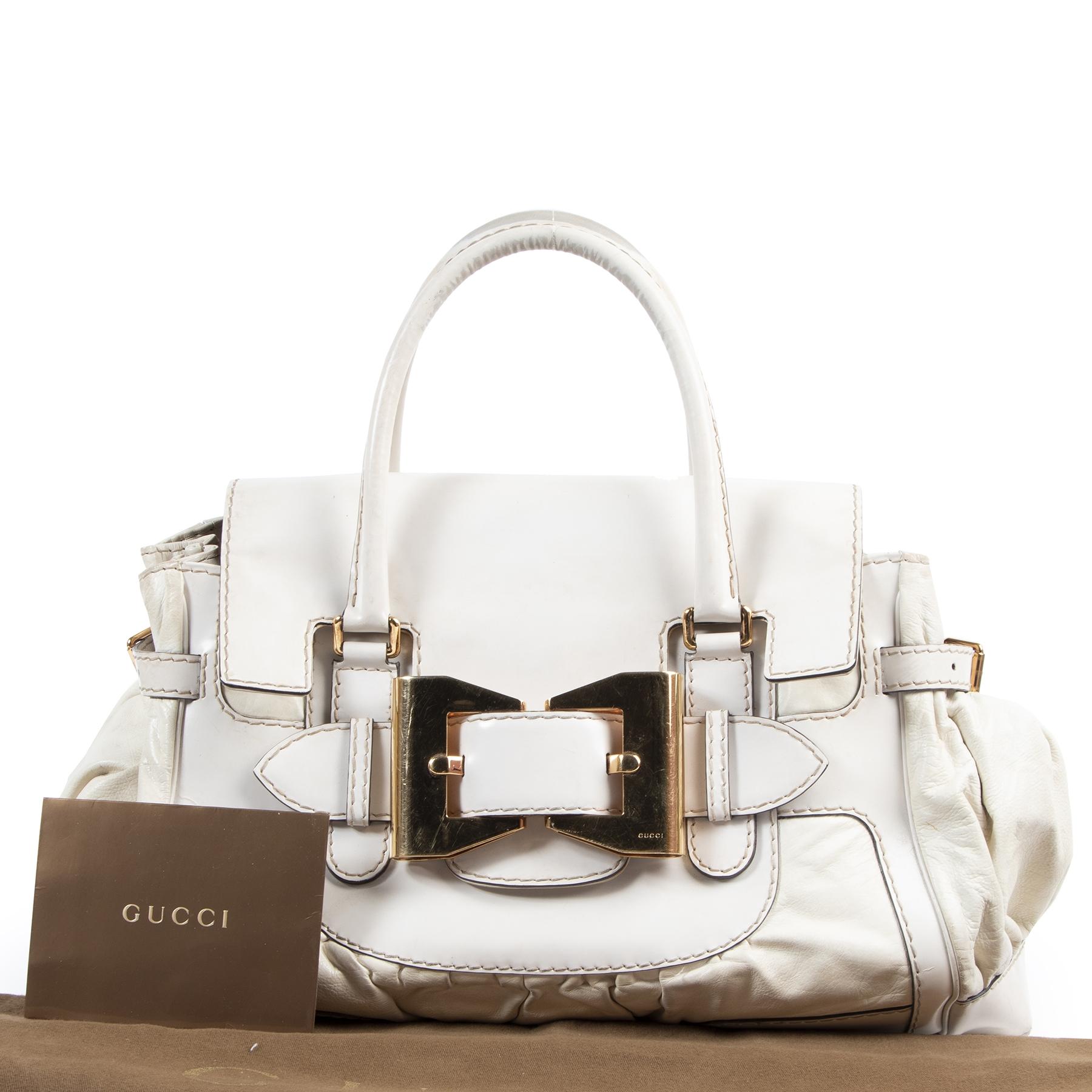 koop uw authntieke Authentieke Tweedehands Gucci White Leather Queen Large Bow Buckle Boston Bag juiste prijs veilig online shoppen luxe merken webshop winkelen Antwerpen België mode fashion