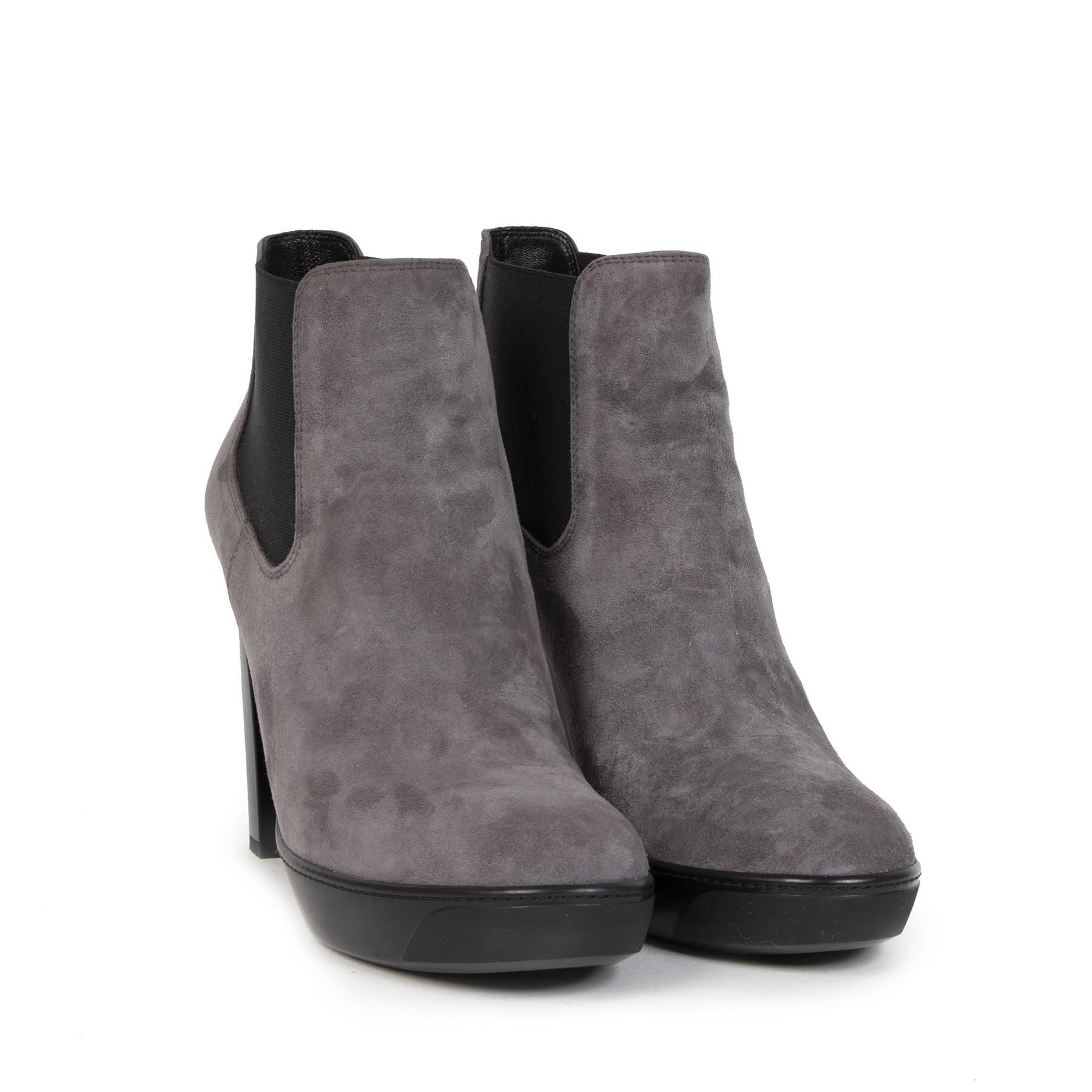 Authentieke Tweedehands Hogan Grey Suede Ankle Boots - Size 40 juiste prijs veilig online shoppen luxe merken webshop winkelen Antwerpen België mode fashion