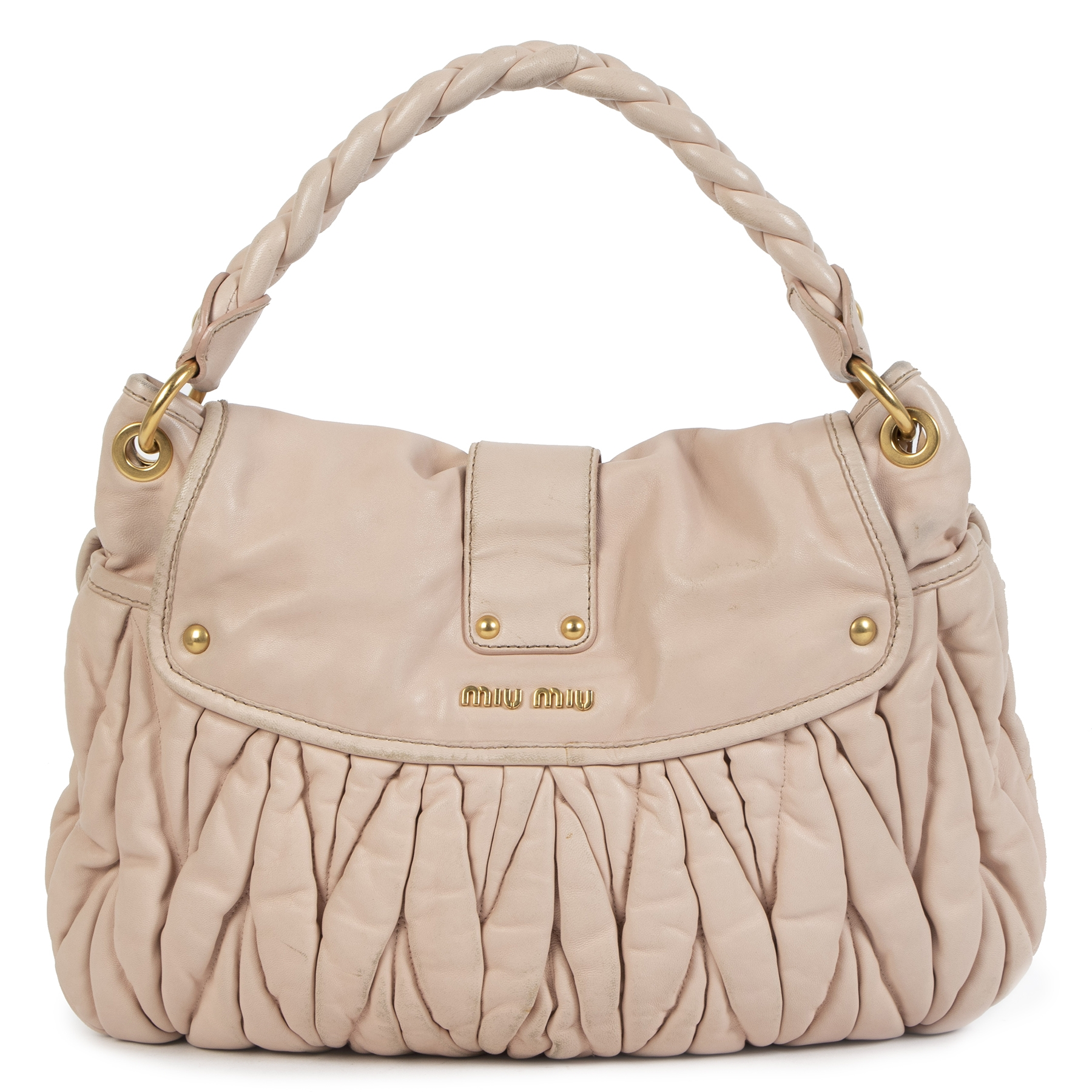 Authentic secondhand Miu Miu Matelasse Pale Pink Lux Nappa Leather Coffer Hobo Bag designer bags accessories shoes luxury vintage webshop designer fashion fashionista safe secure online shopping worldwide shipping