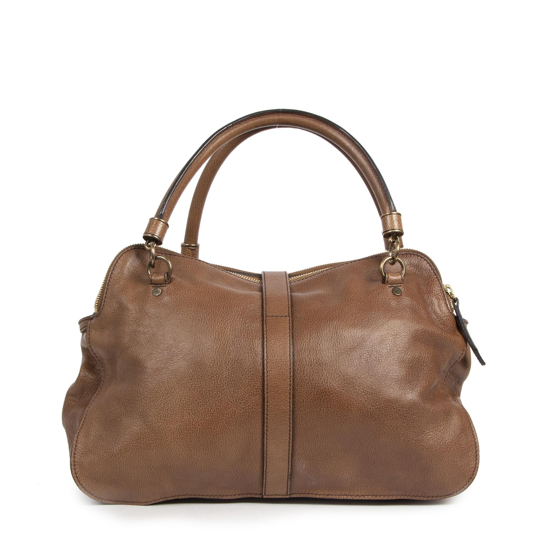 Authentieke Tweedehands Burberry Brown Buffalo Leather Shoulder Bag juiste prijs veilig online shoppen luxe merken webshop winkelen Antwerpen België mode fashion