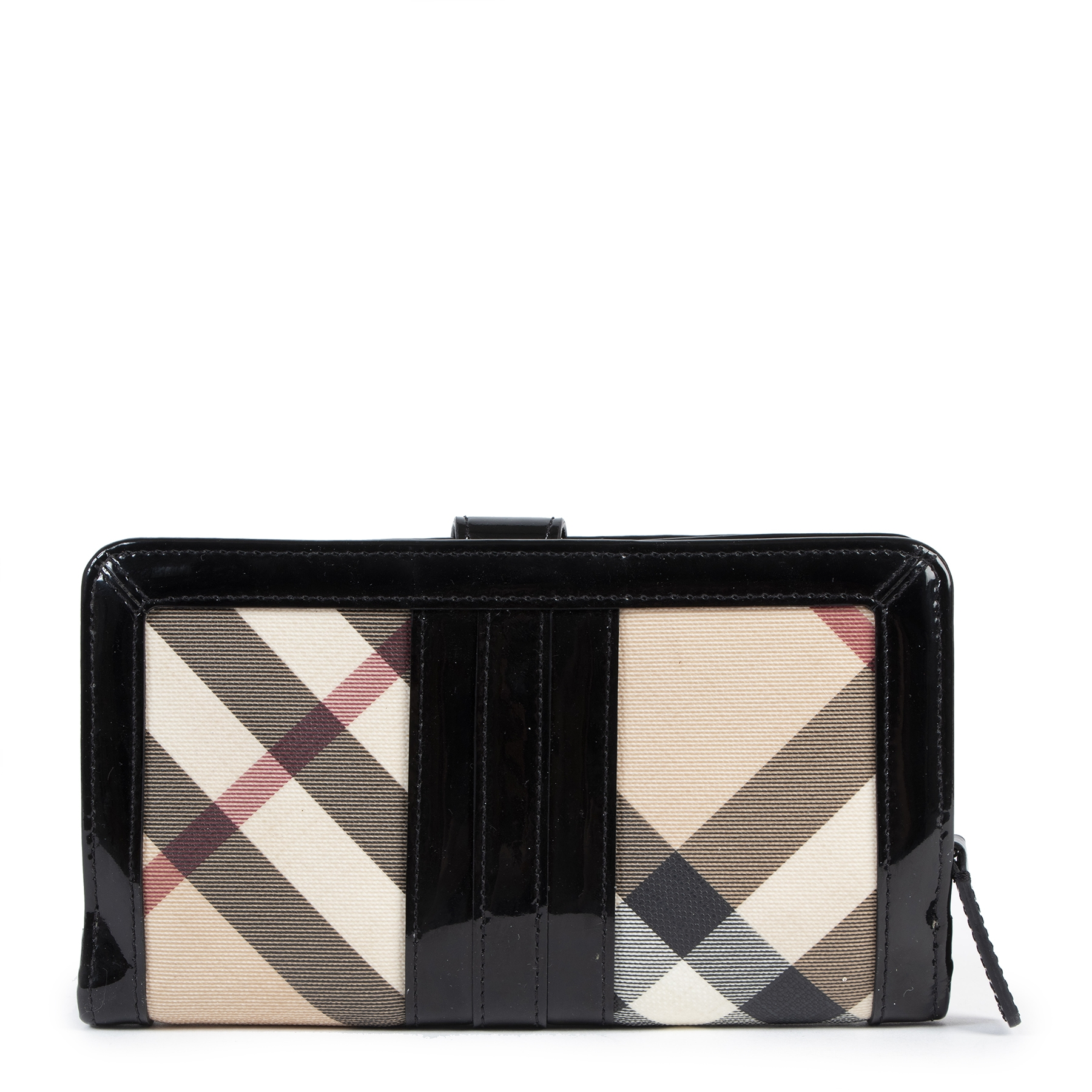 We buy and sell your authentic designer Burberry Beige Nova Check Patent Leather Wallet