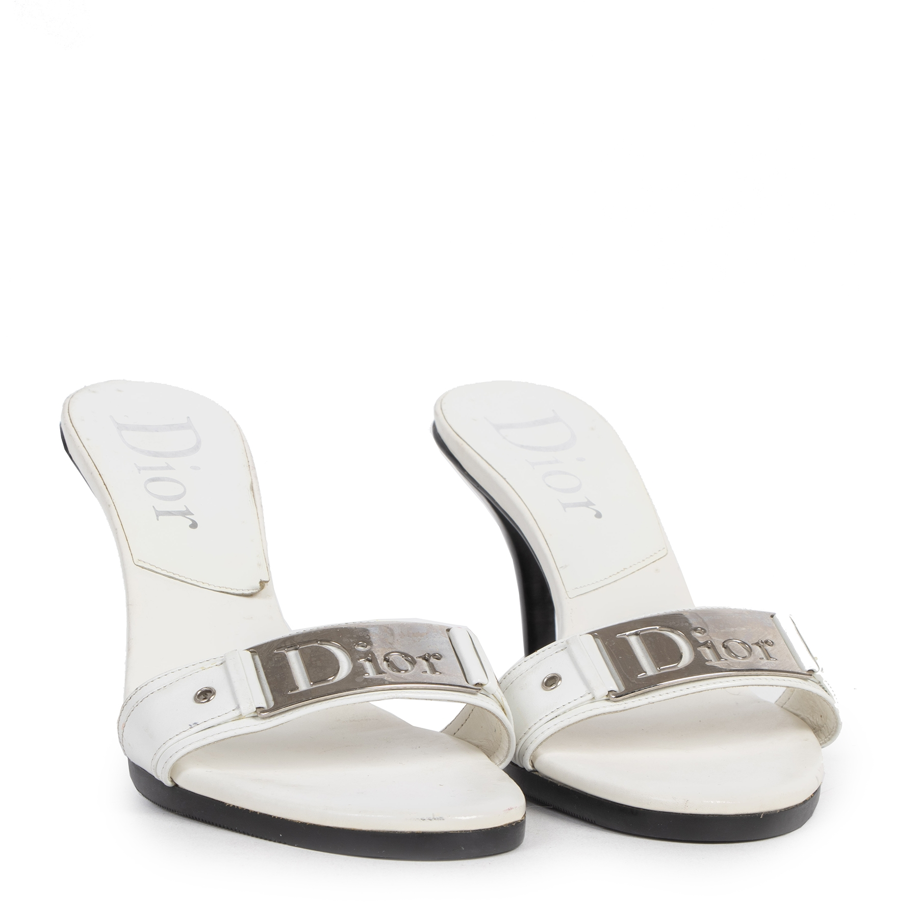 Authentic secondhand Dior White Logo Mules - Size 38 designer high heels luxury vintage webshop fashion safe secure online shopping worldwide shipping