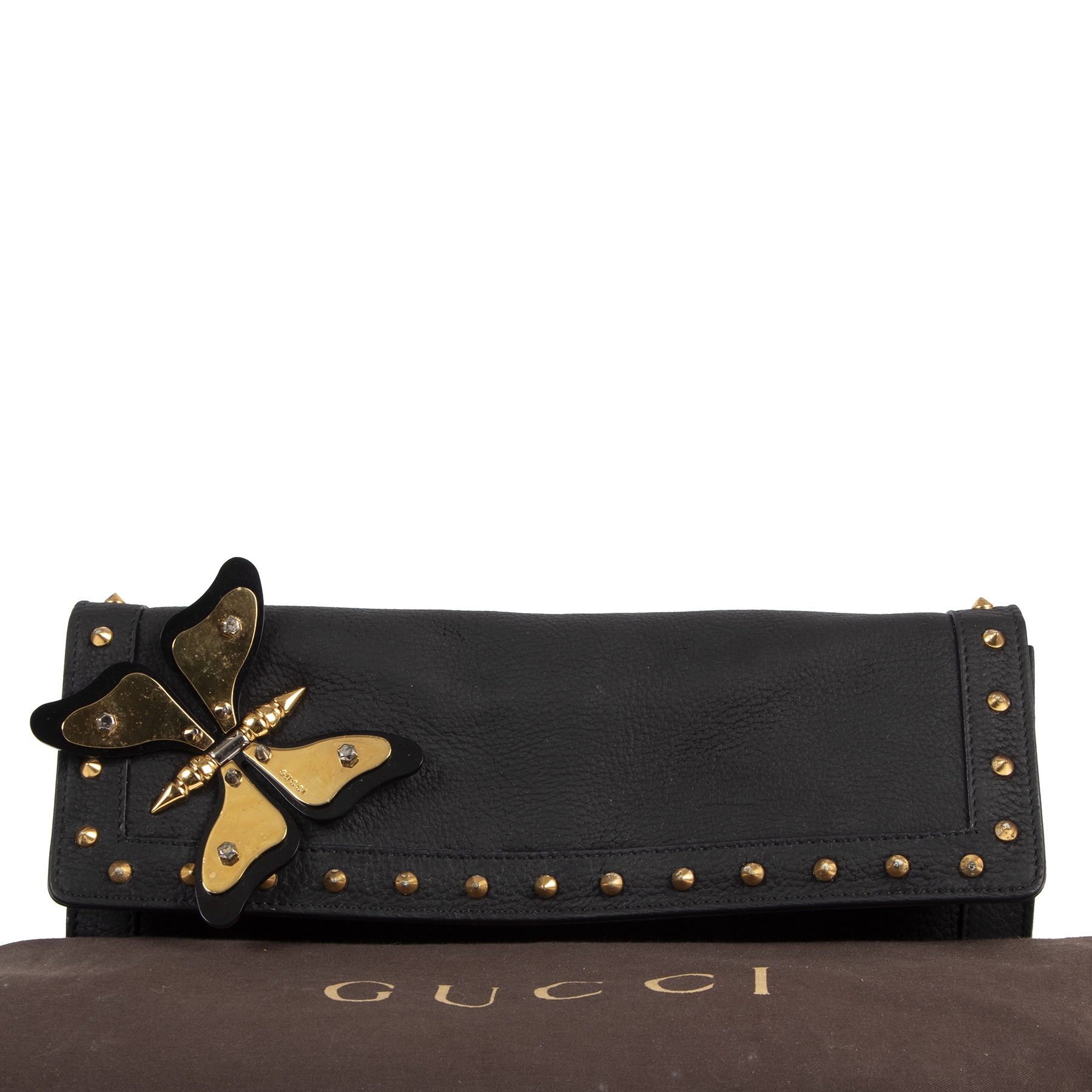 Authentique seconde-main vintage Gucci Black Leather Broadway Butterfly Clutch achète en ligne webshop LabelLOV Belgique