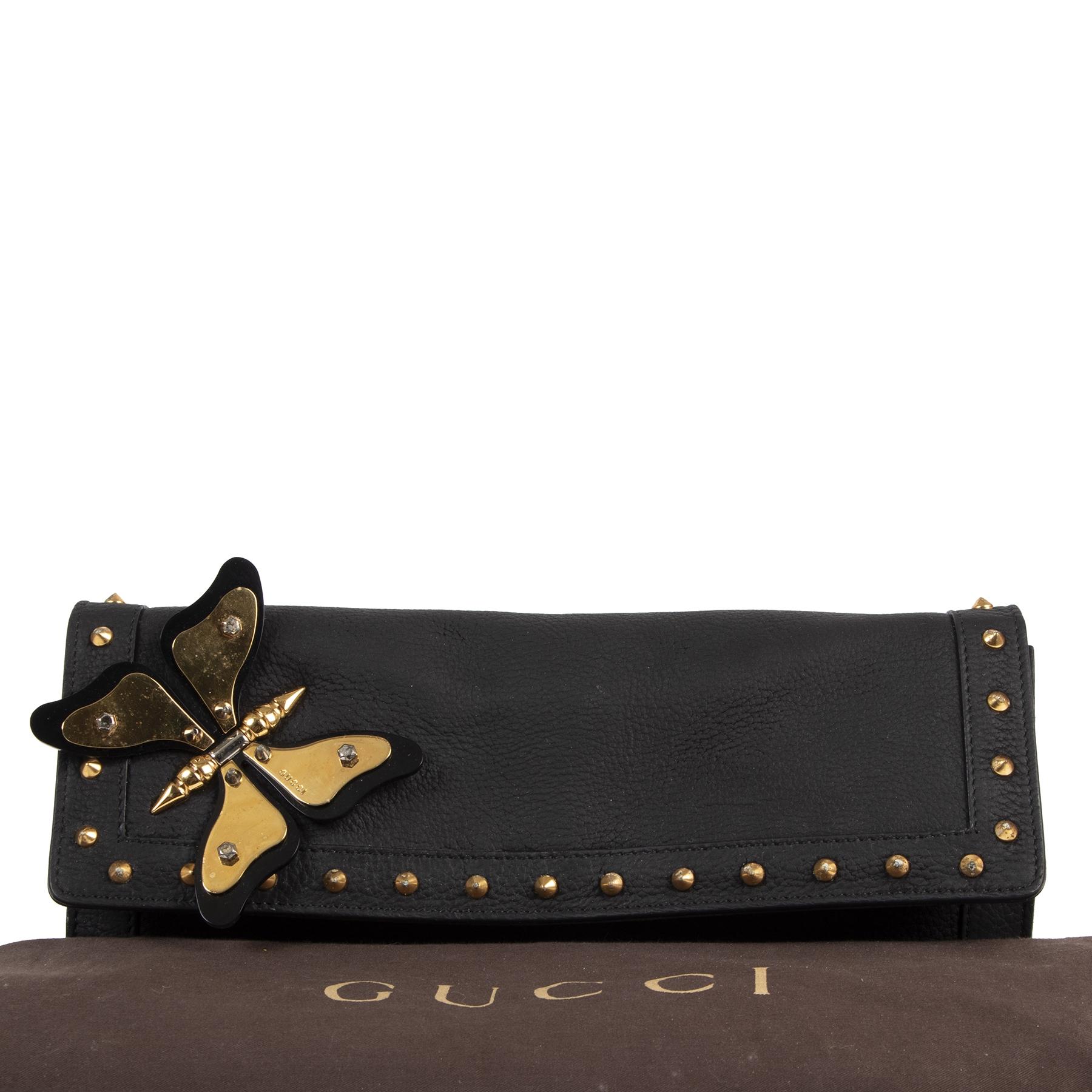 Authentique seconde-main vintage Gucci Black Leather Broadway Butterfly Clutch achète en ligne webshop LabelLOV Belgique