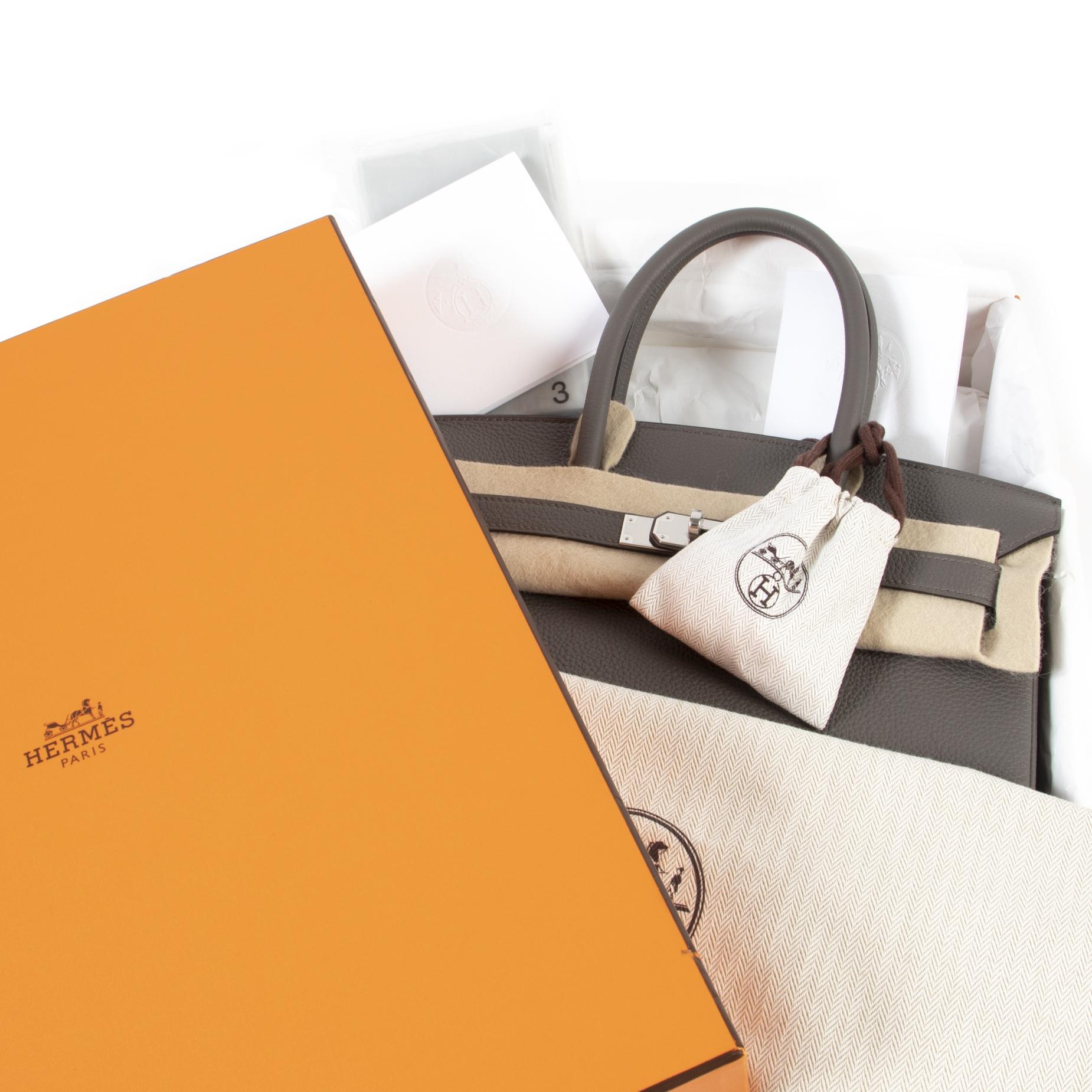 100% authentic Hermès Birkin 30 Etain Togo PHW for the best price at Labellov secondhand luxury