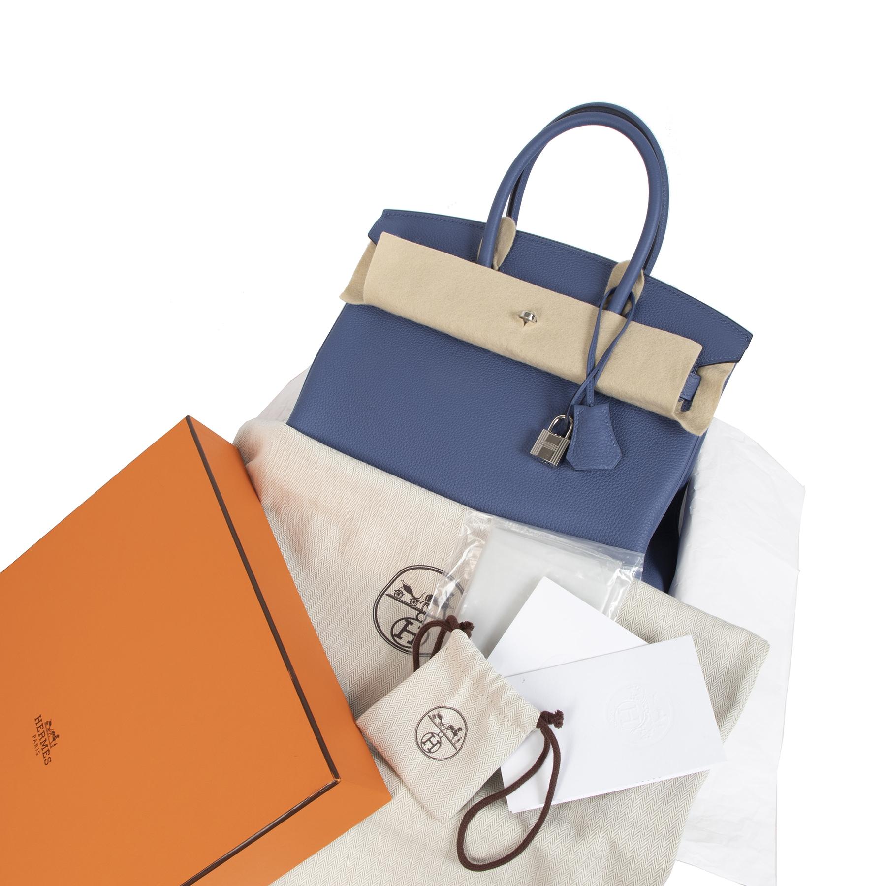 shop safe online secondhand Never Used Hermes Blue Brighton Togo Birkin 30 PHW