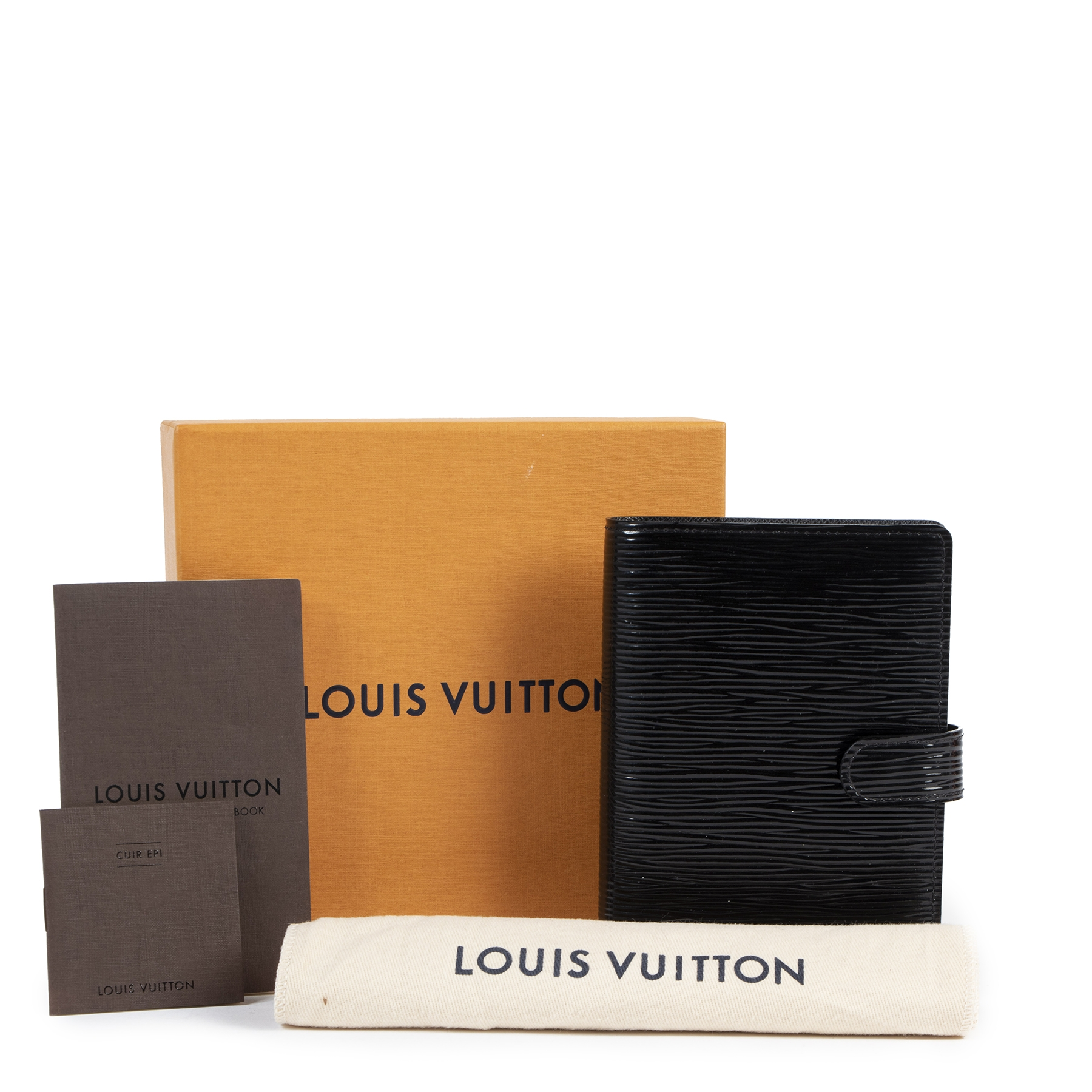 acheter en ligne seconde main Louis Vuitton Black Patent Epi Wallet