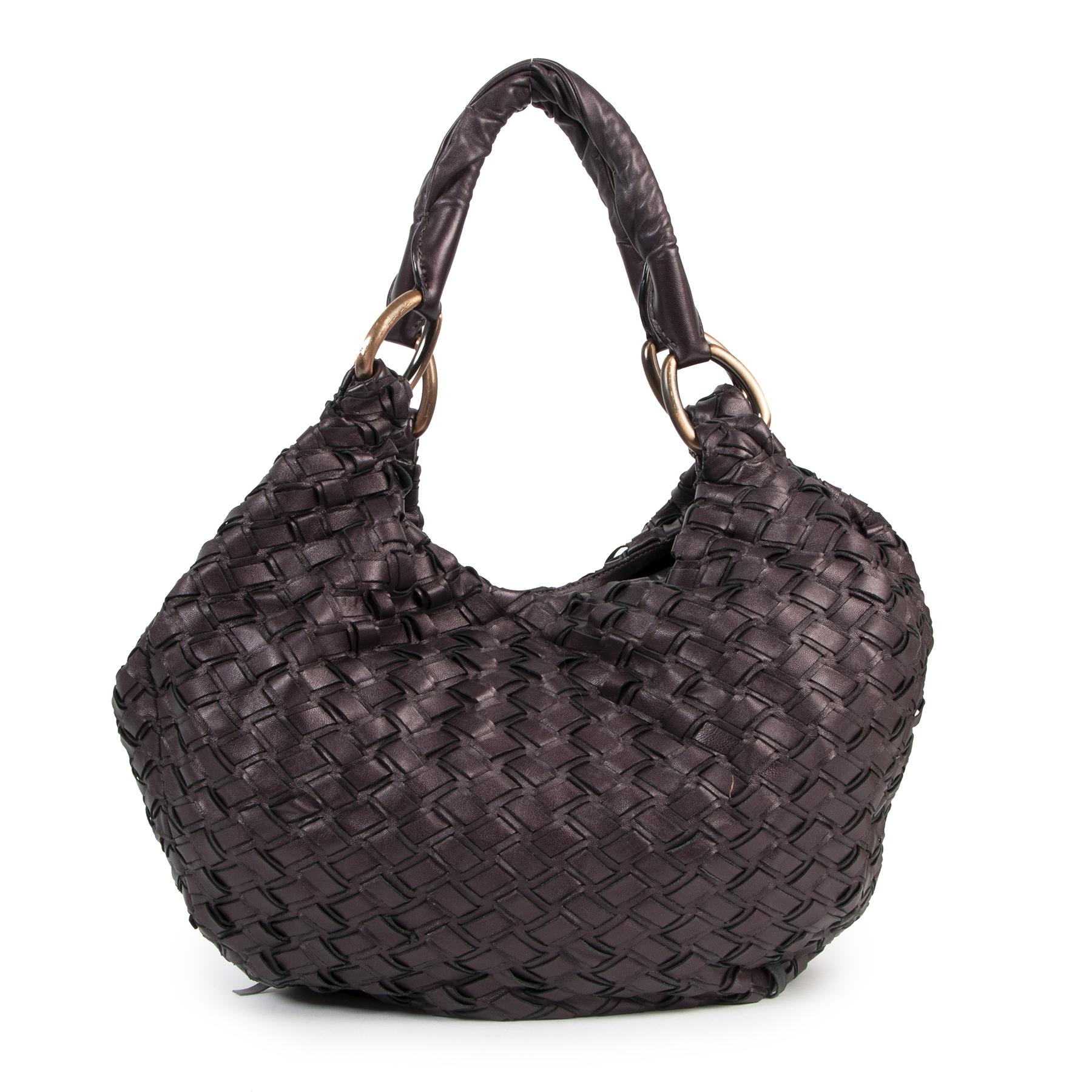 Authentieke Tweedehands Miu Miu Purple Intreccio Woven Tote Bag juiste prijs veilig onine shoppen luxe merken webshop winkelen Antwerpen België mode fashion