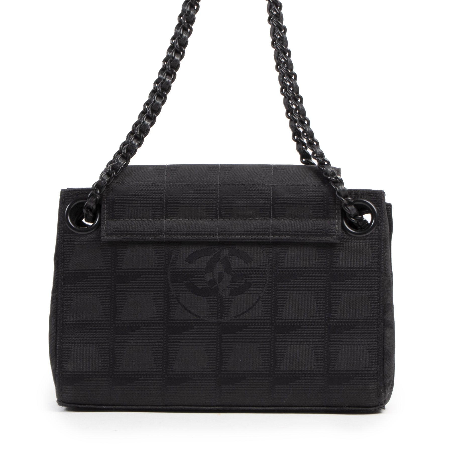 Available for the best price this exclusive authentic vintage Chanel Black Nylon CC Mini Bag
