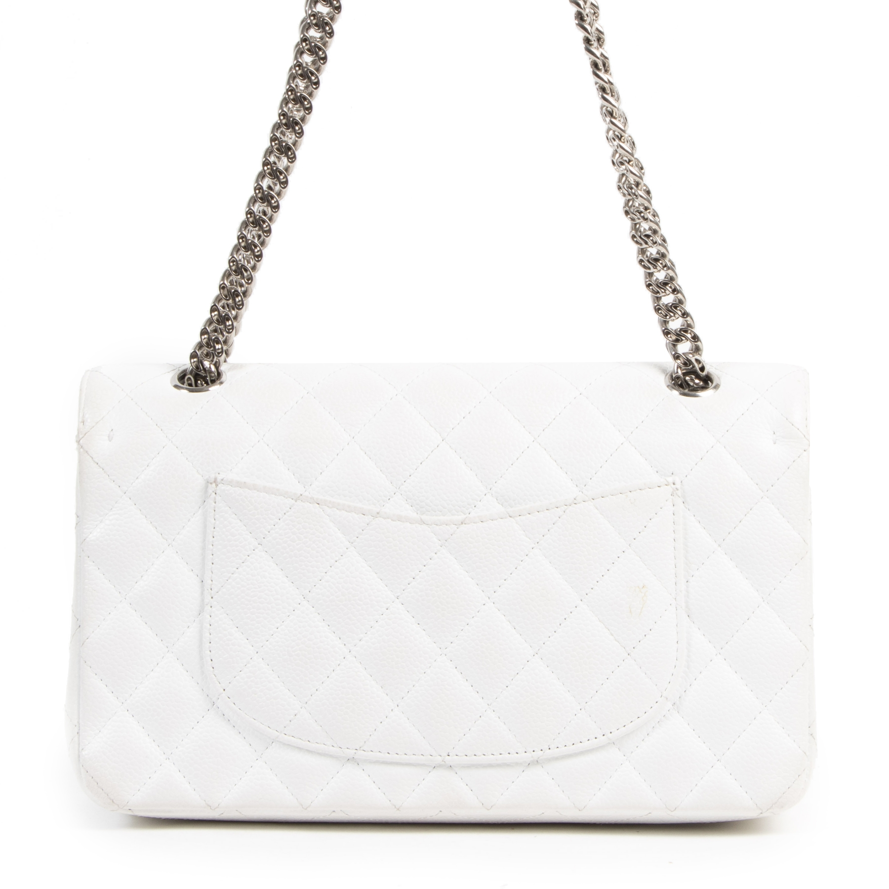 shop safe online Chanel White Caviar Medium Classic Double Flap Bag