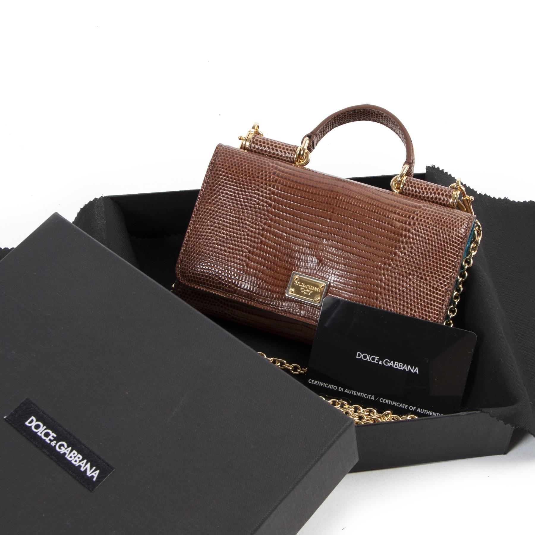Authentieke Tweedehands Dolce & Gabbana Brown Alligator Sicily Phone Case Bag juiste prijs veilig online shoppen luxe merken webshop winkelen Antwerpen België mode fashion