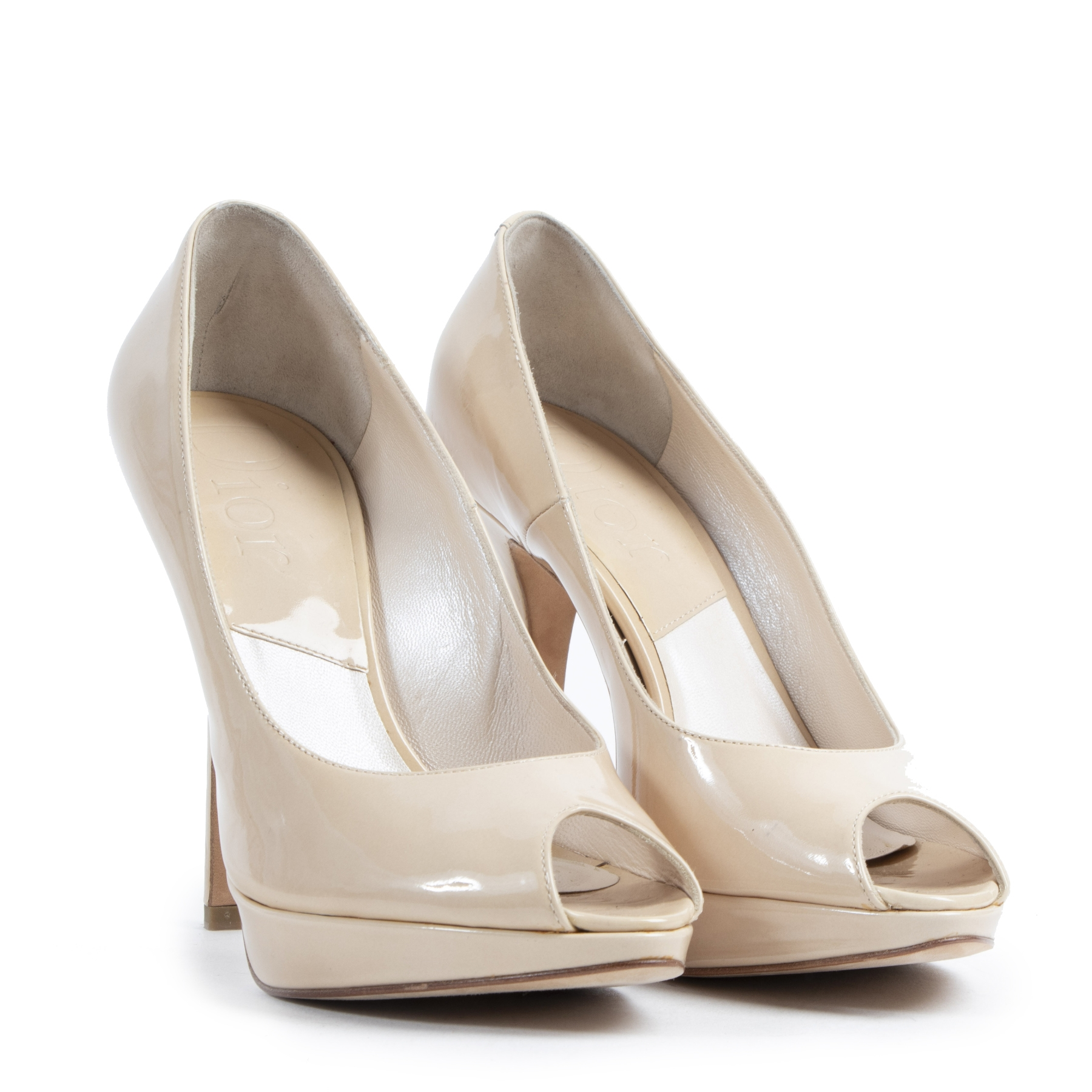 Authentieke tweedehands vintage Dior Nude Patent Leather Open Toe Pumps - Size 37 koop online webshop LabelLOV