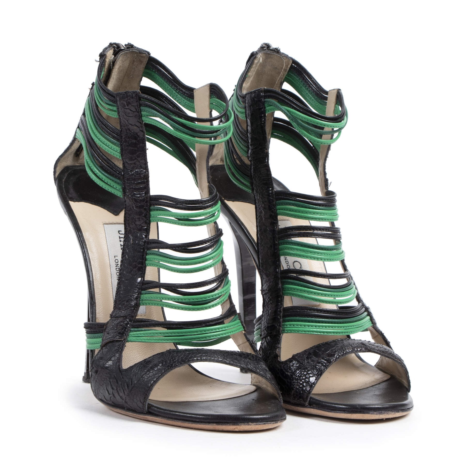 Authentique seconde-main vintage Jimmy Choo Black And Green Cage Sandals - Size 37 achète en ligne webshop LabelLOV