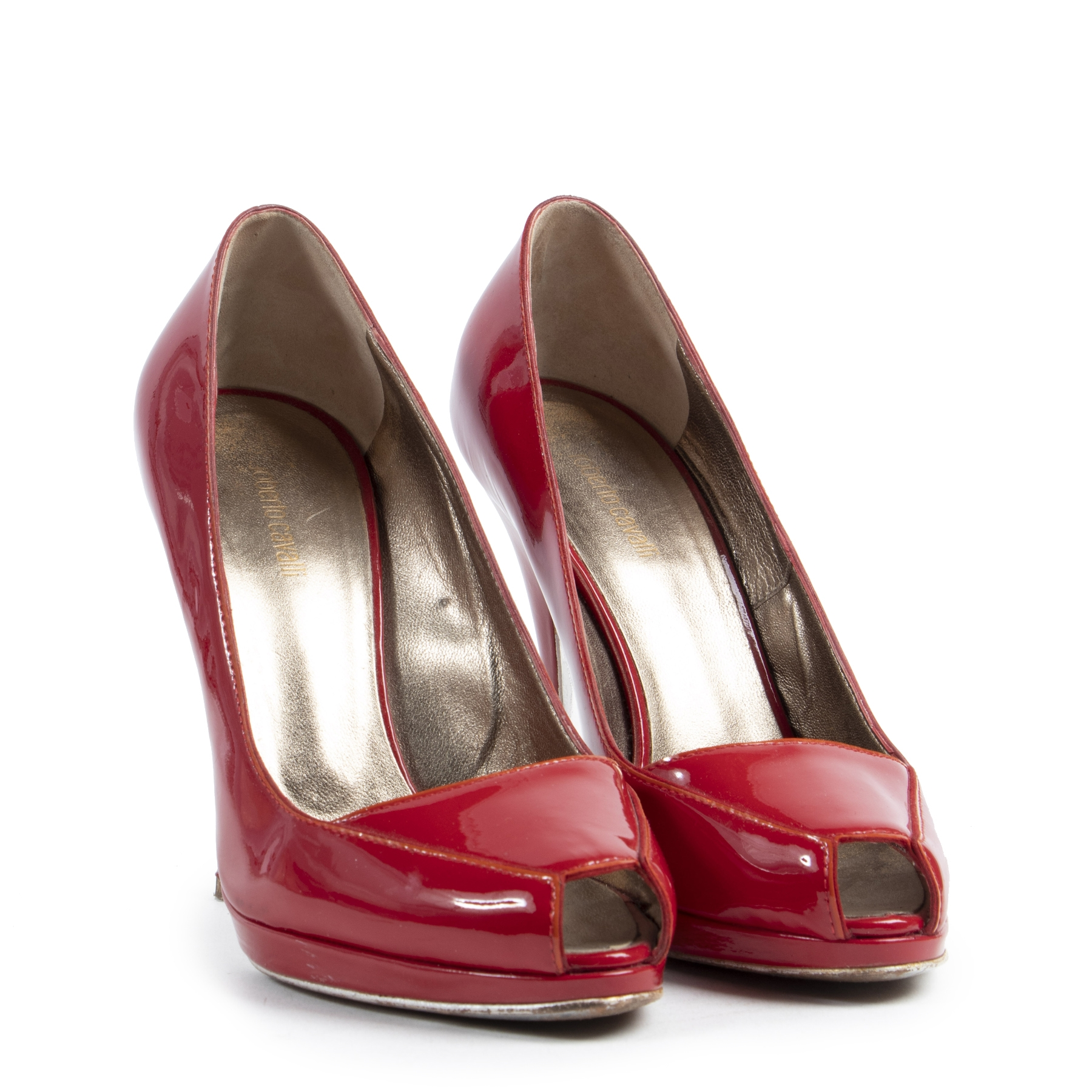 Authentieke tweedehands vintage Roberto Cavalli Red Open Toe Pumps - Size 37 koop online webshop LabelLOV