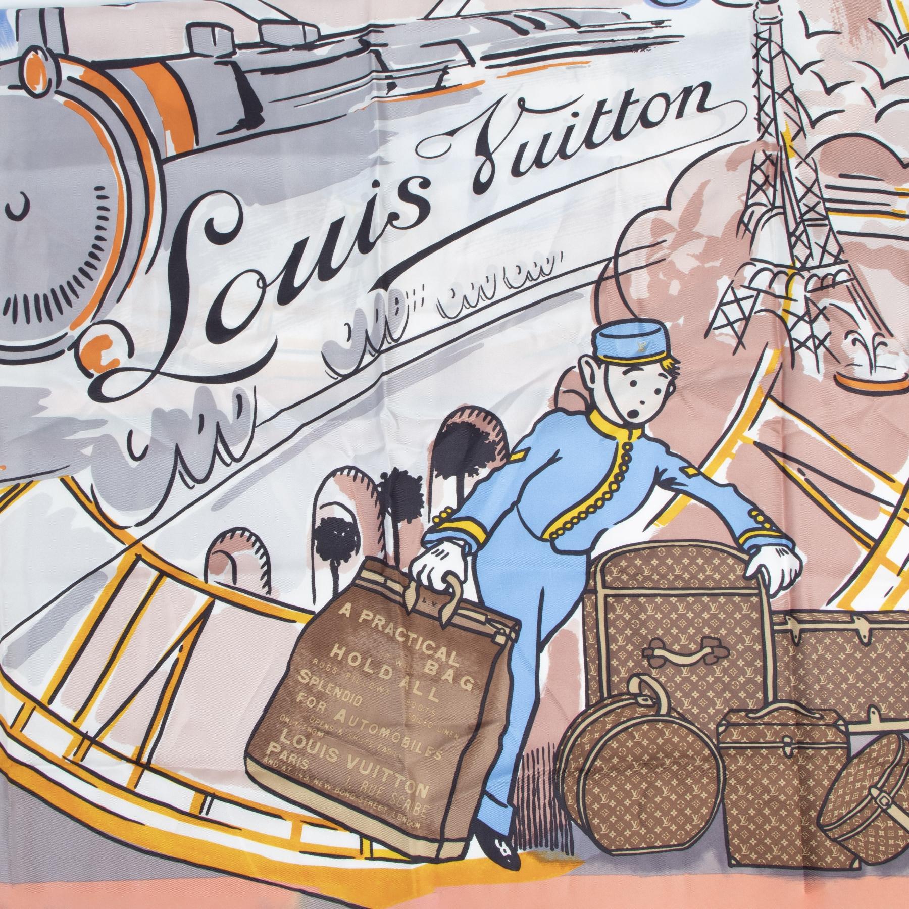 Authentic secondhand Louis Vuitton Silk Tintin Scarf Groom designer scarves designer brands fashion online shopping