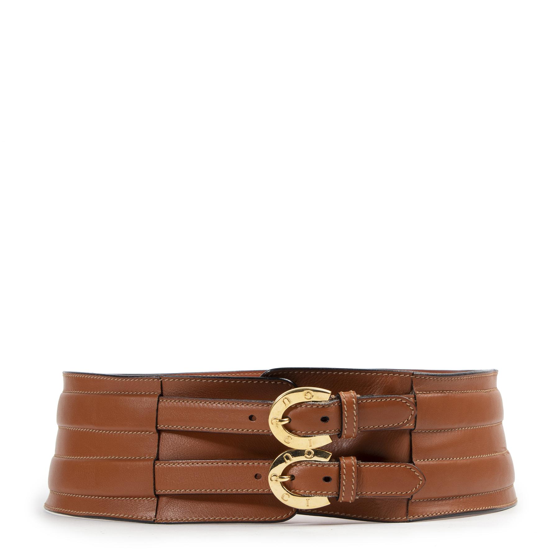 Authentic secondhand Gucci Cognac Leather Wide Waist Belt - Size 90 designer belts fashion luxury vintage webshop safe secure online shopping