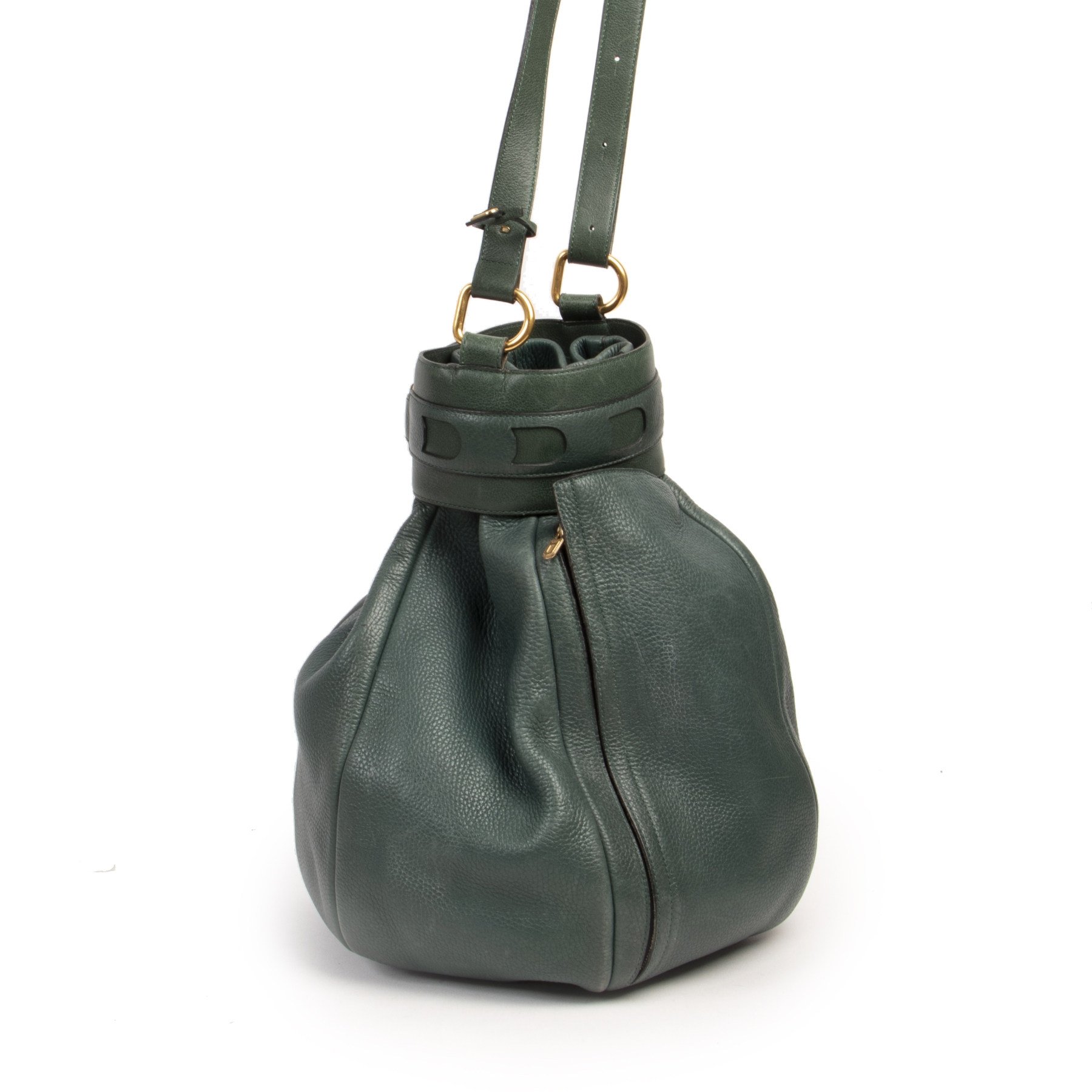 Authentic secondhand Delvaux Green Leather Bucket Bag designer bags fashion luxury vintage webshop safe secure online shopping