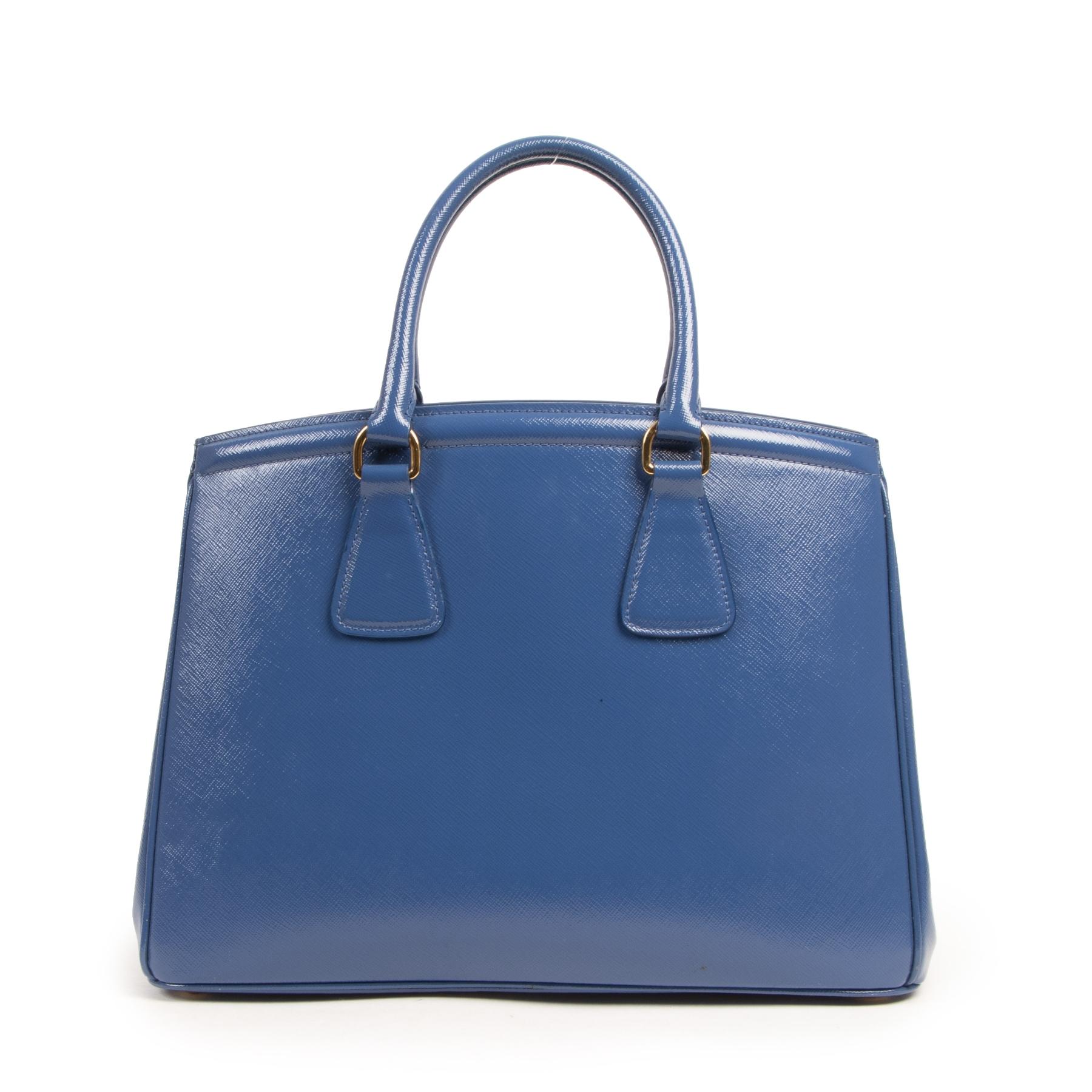 Authentieke Tweedehands Prada Saffiano Cobalt Blue Handle Bag juiste prijs veilig online shoppen luxe merken webshop