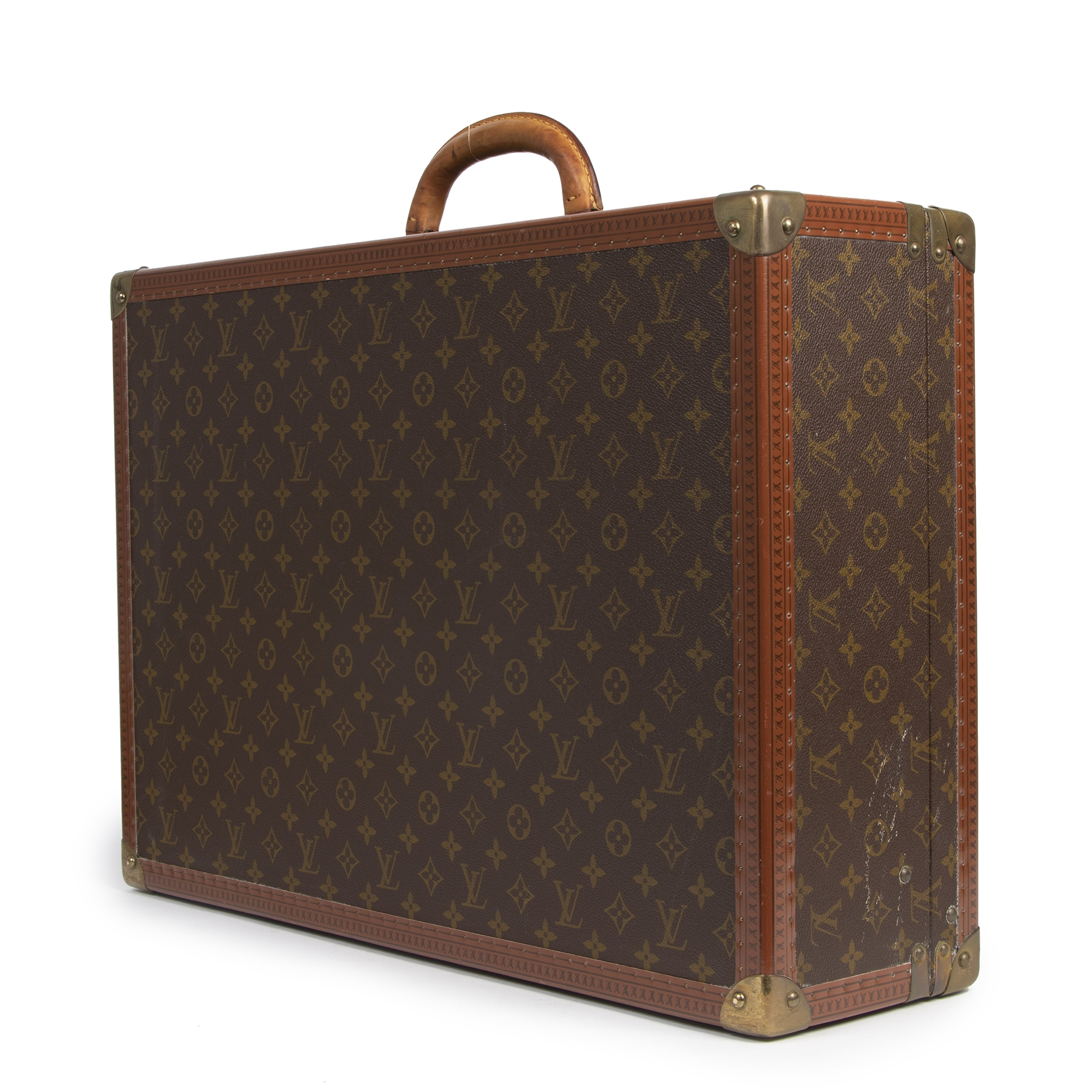 Authentic second-hand vintage Louis Vuitton Bisten 60 Monogram Travel Trunk buy online webshop LabelLOV