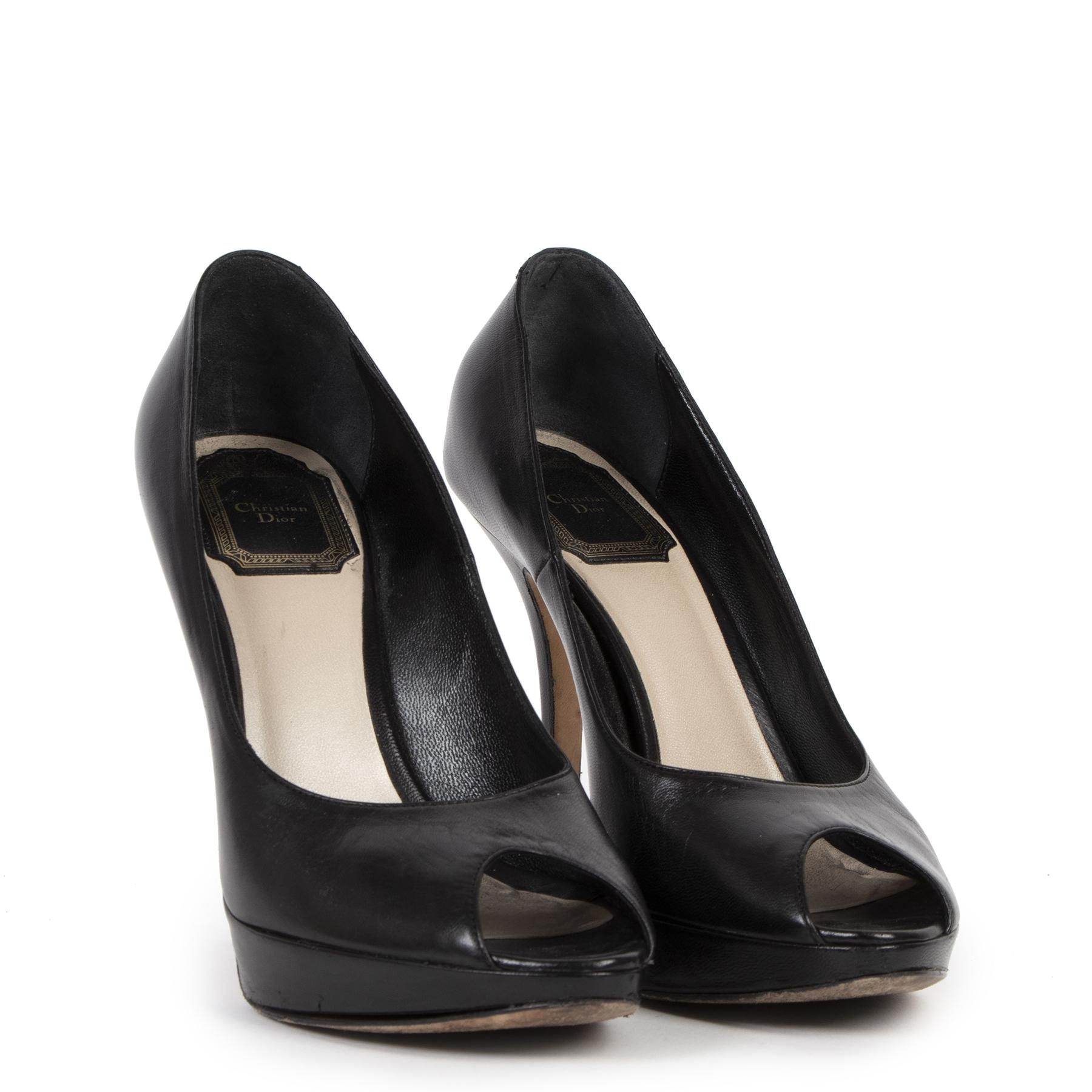 Authentic secondhand Christian Dior Black Leather Peep Toe Pumps - Size 37 designer shoes high heels luxury vintage webshop fashion designer brands online shopping