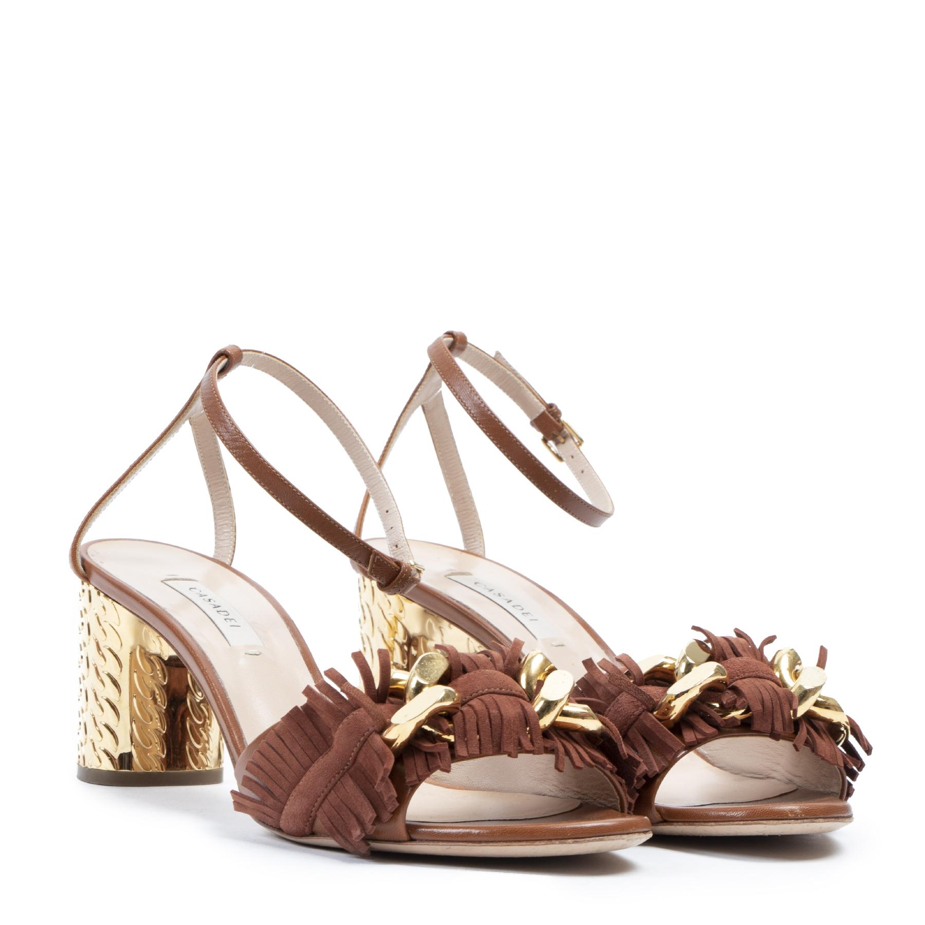 Authentieke tweedehands vintage Casadei Brown Chain Trimmed Block Heel Sandal - Size 38,5  koop online webshop LabelLOV