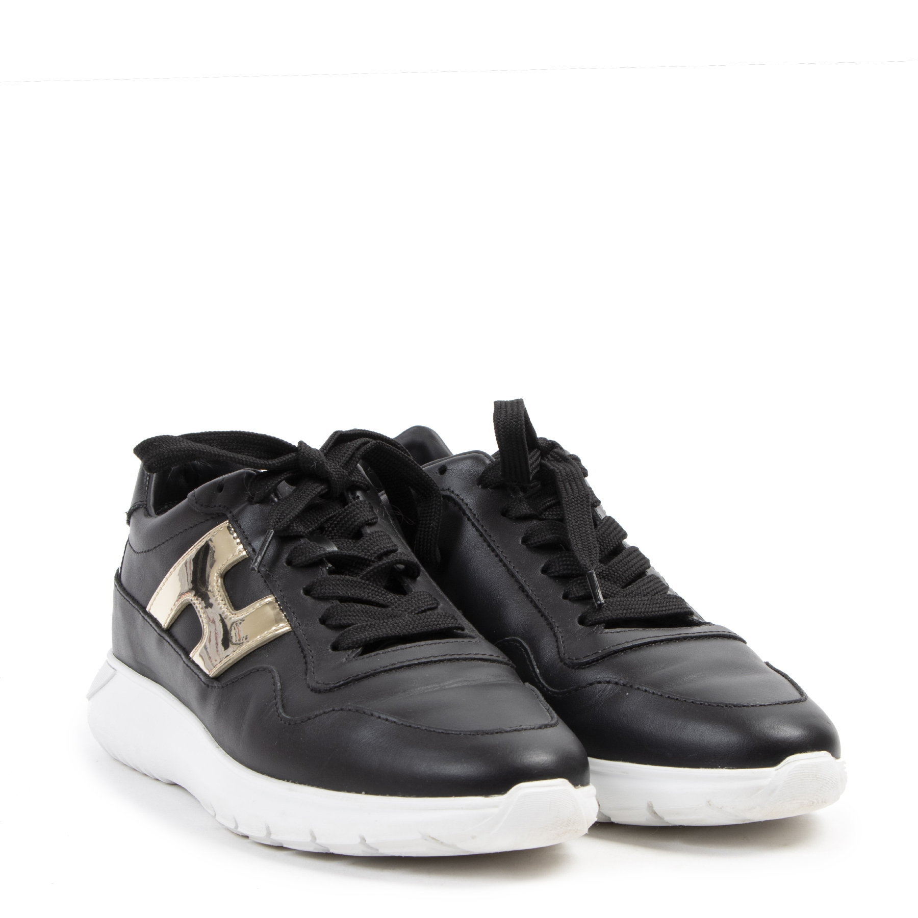 Authentieke tweedehands vintage Hogan Black Interactive Low Top Sneakers - Size 40 koop online webshop LabelLOV
