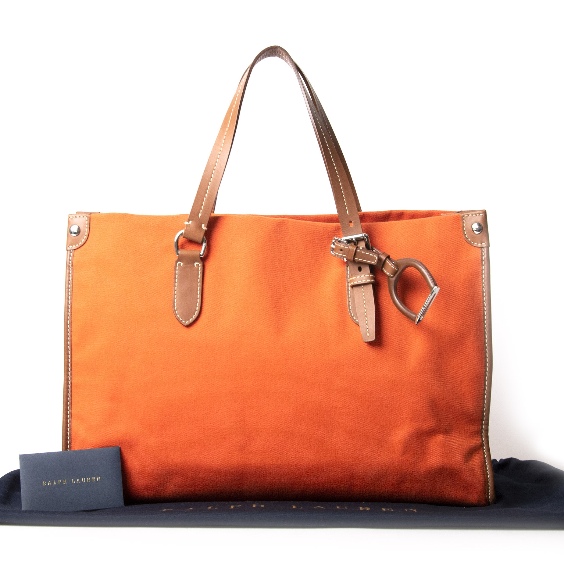 Ralph Lauren Orange Canvas Tote Bag