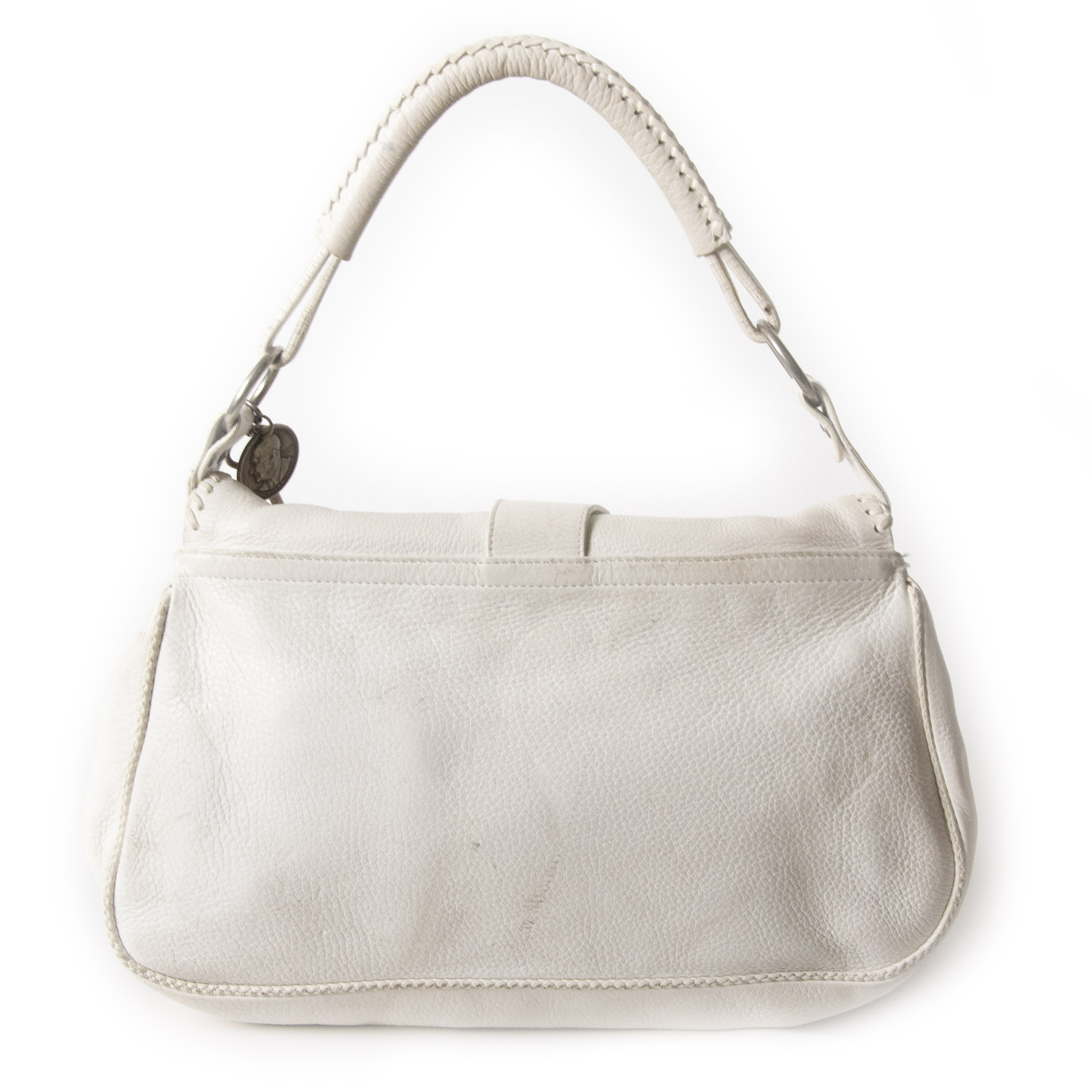Authentic second-hand vintage Dior White Gaucho Double Saddle Bag buy online webshop LabelLOV