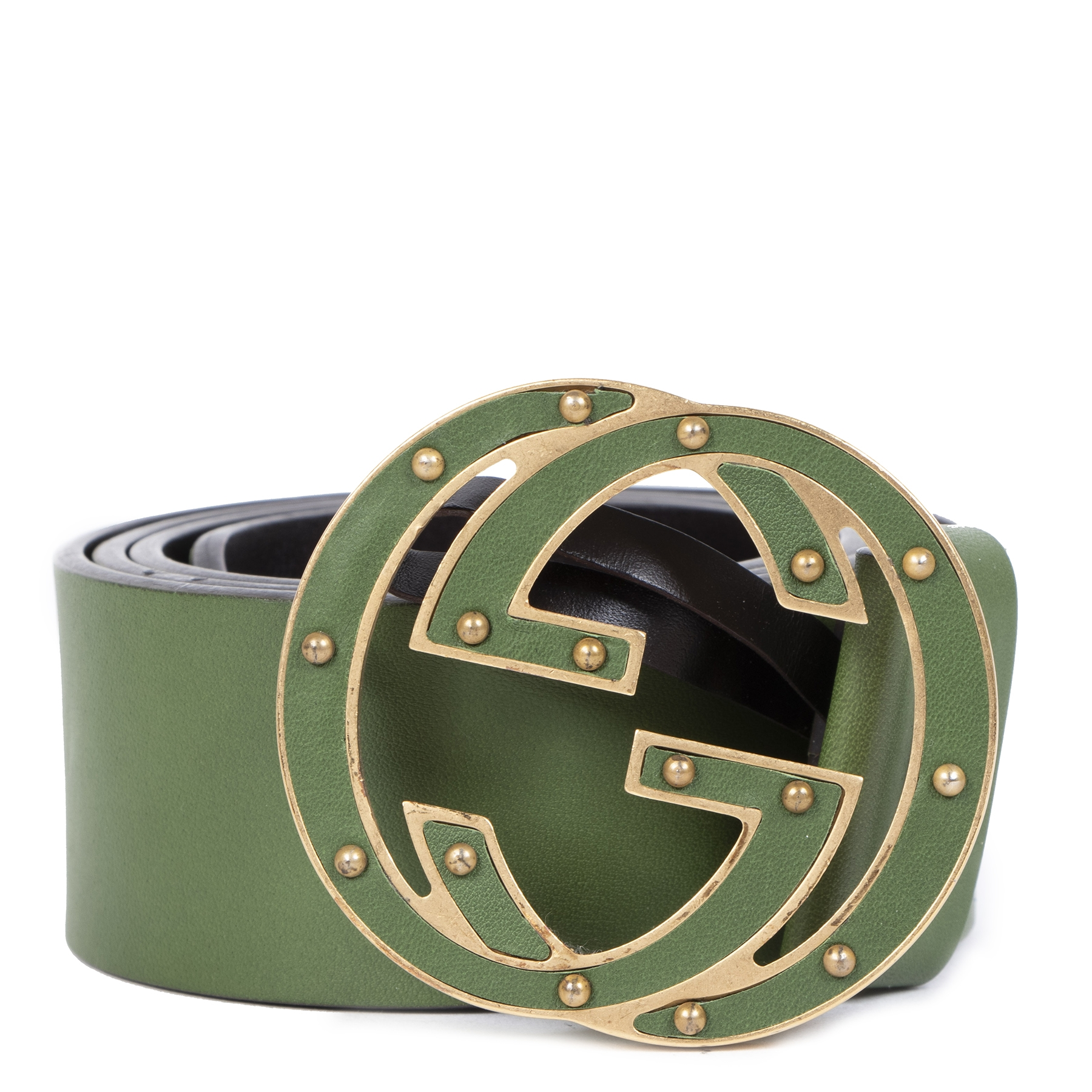 Authentic second-hand vintage Gucci GG Green Belt - Size 80 buy online webshop LabelLOV