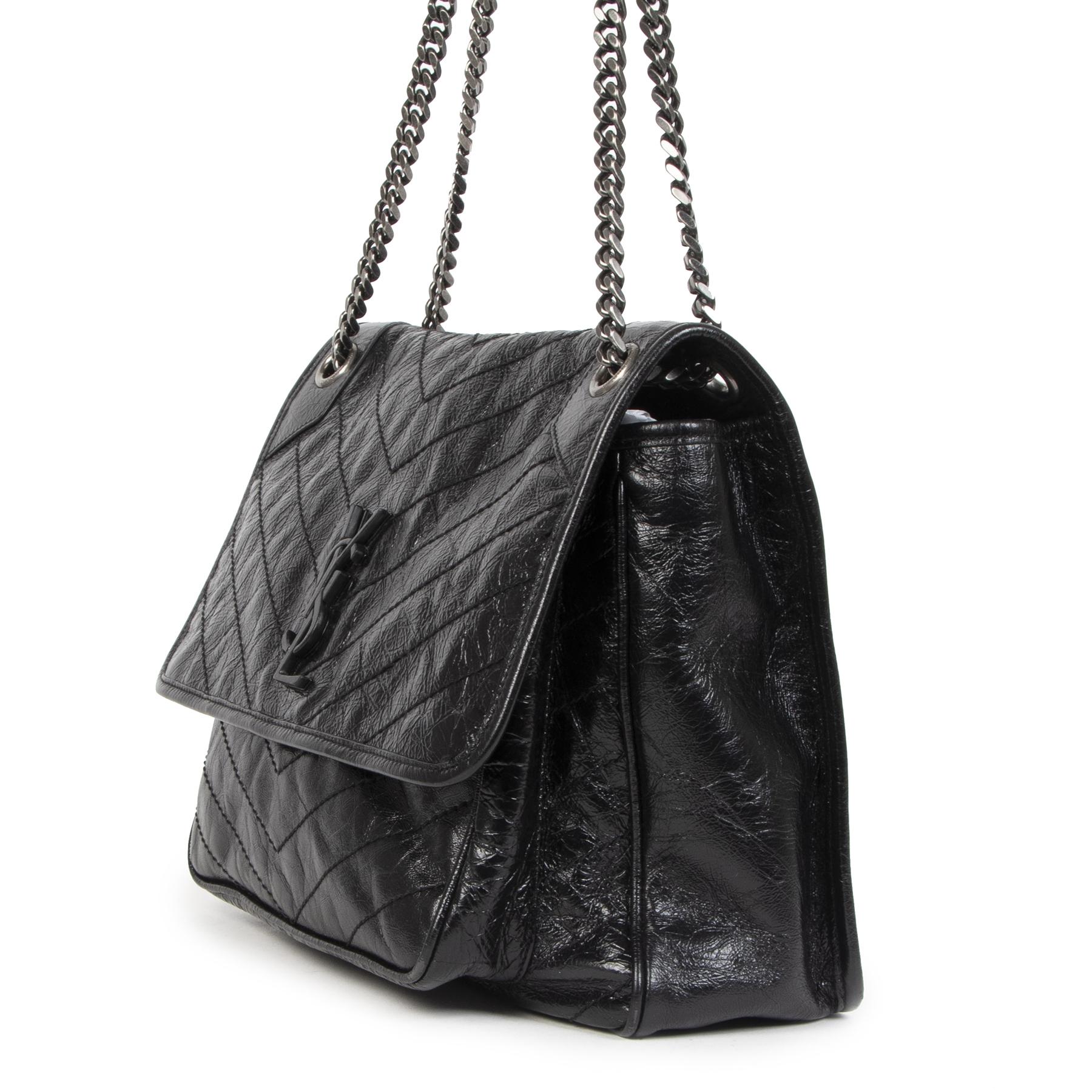 Authentieke Tweedehands Saint Laurent Large Niki Black Calfskin Leather Shoulder Bag juiste prijs veilig online shoppen luxe merken webshop winkelen Antwerpen België mode fashion
