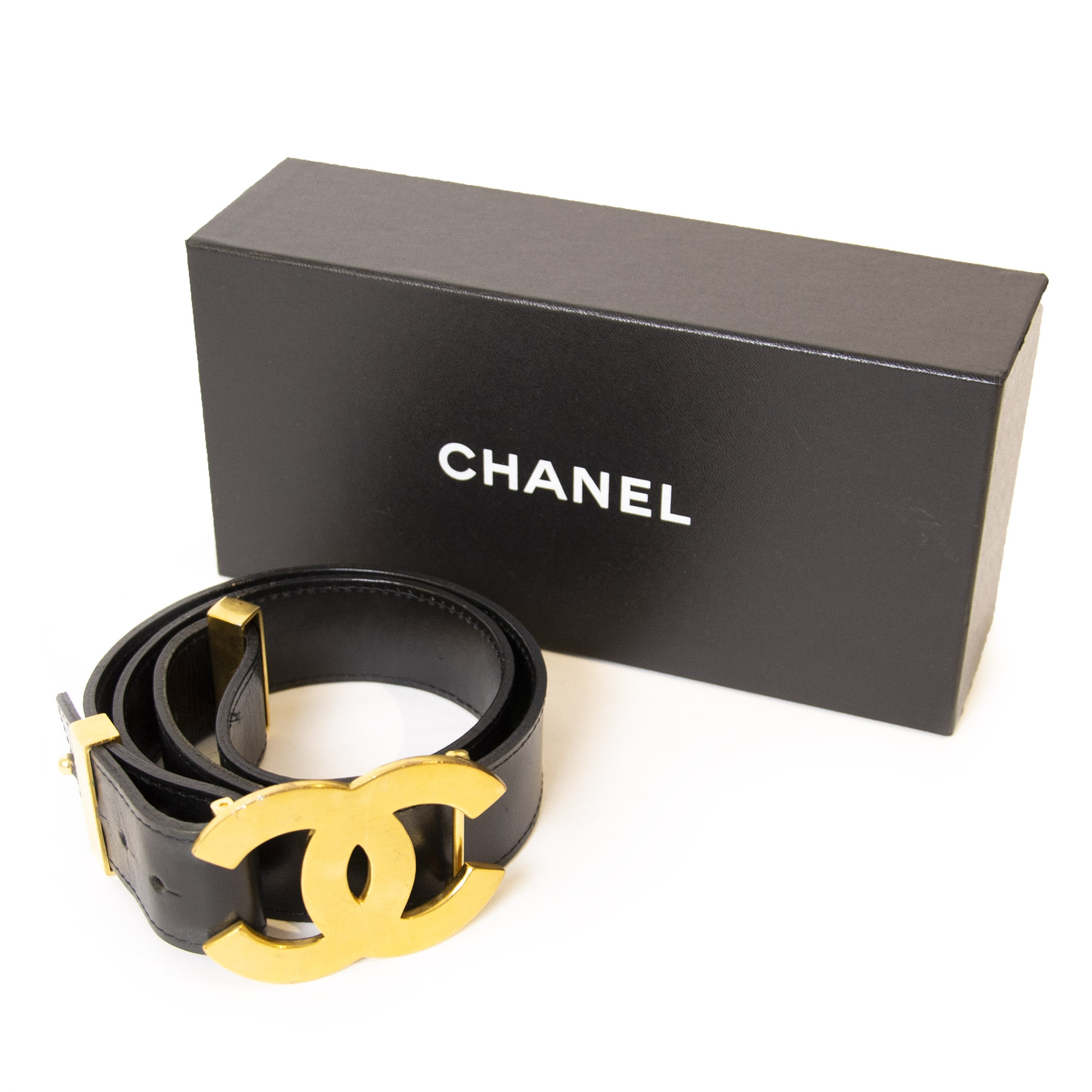Chanel Black Leather Gold CC Logo Belt - Size 80 buy and sell luxury