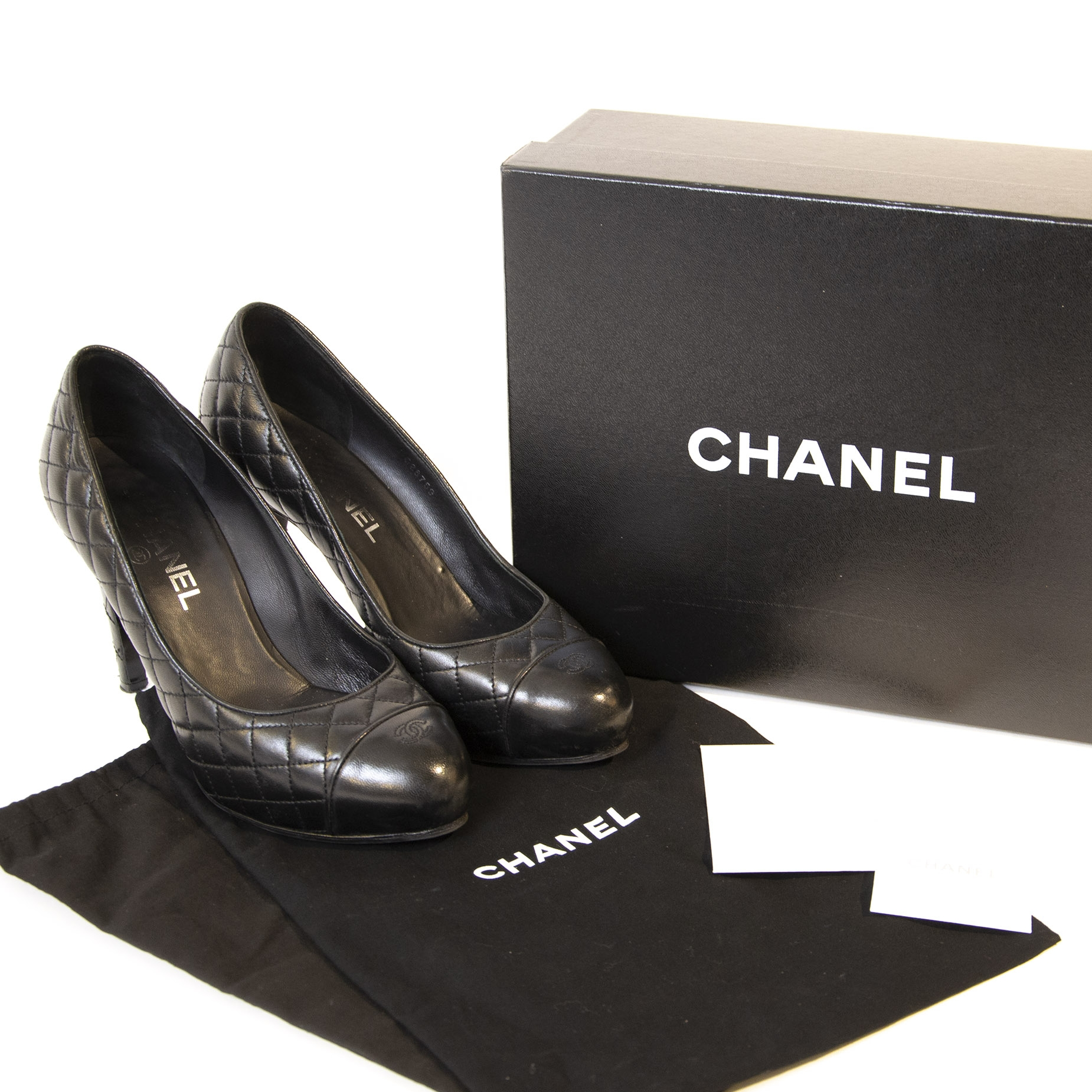 Chanel Black Quilted Leather CC Pumps